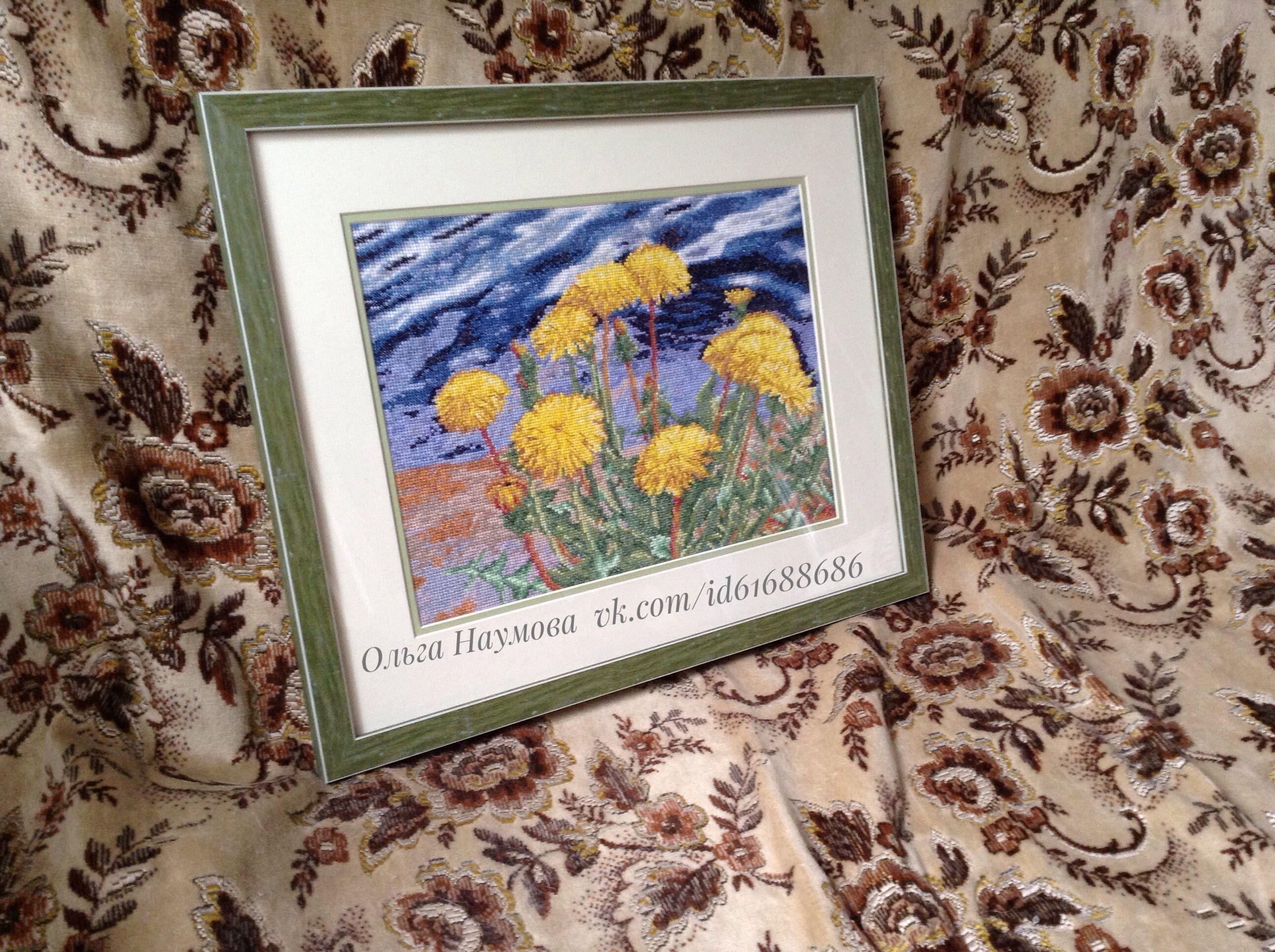 вышивка цветы одуванчики вышивание вышитаякартина интерьер картина подарок