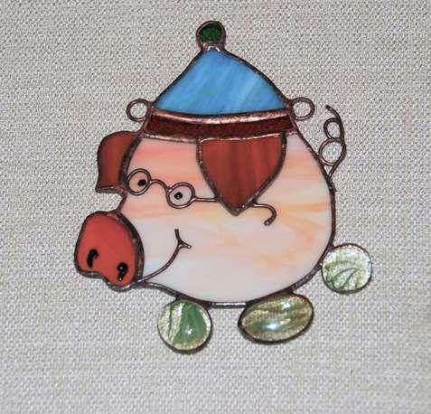 поросёнок подарок работа витражное ручная сувенир подвеска животные тиффани стекло медь