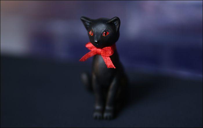 подарок лента акрил черный красный sculpey кошка бант кот