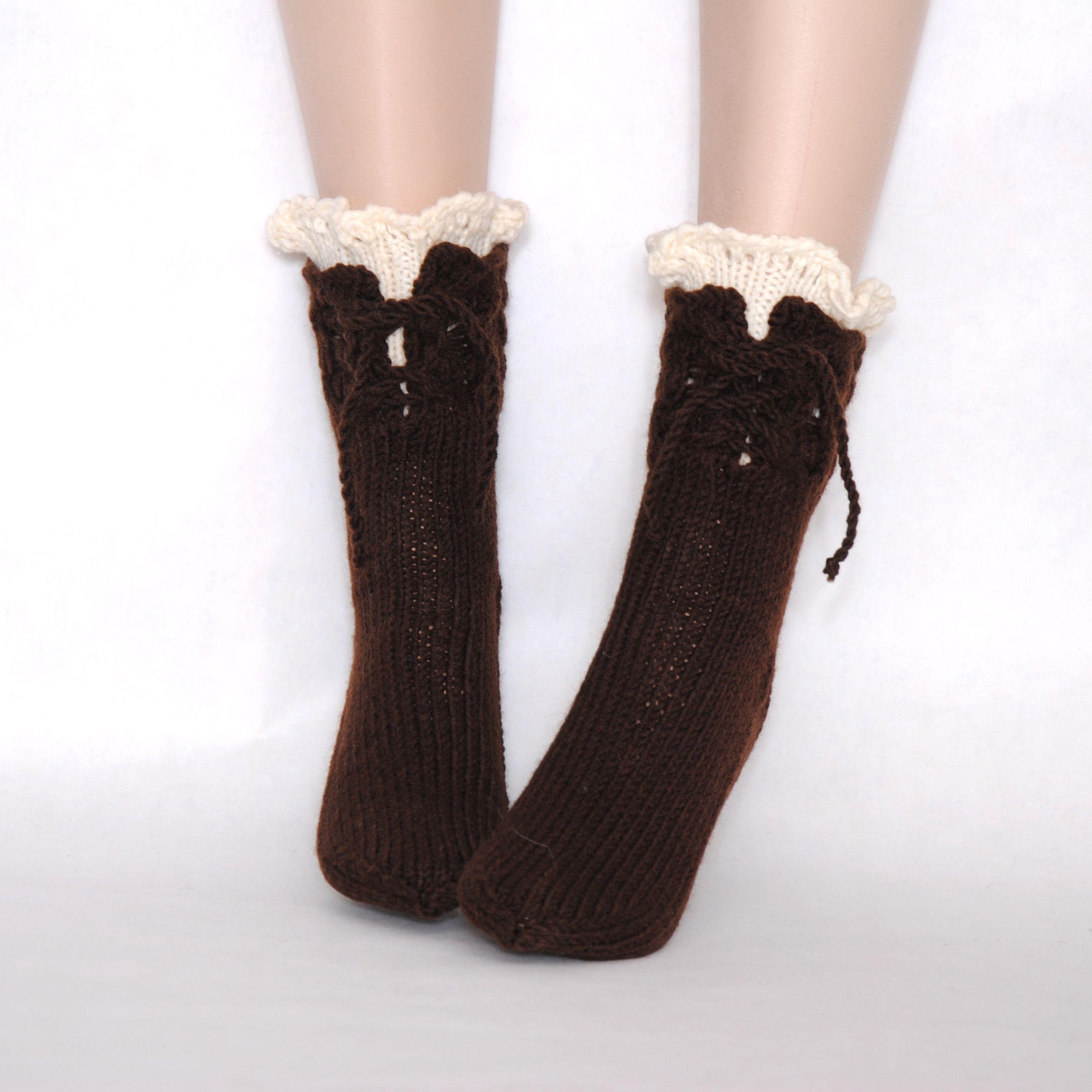 вязаные модные носочки купить шерстяные бохо год новый женские носки подарок