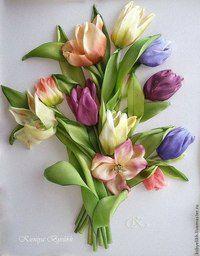 лентами вышивка мастеркласс цветы