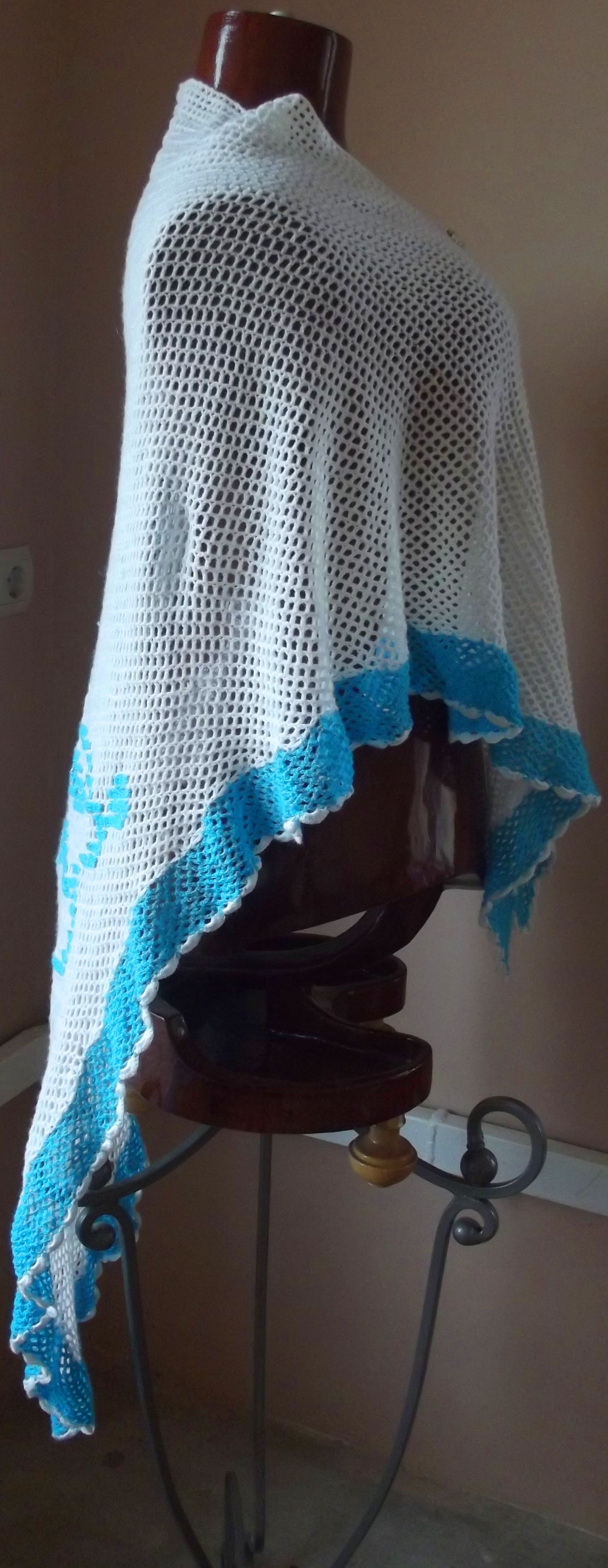 крючком шаль работа орнаментом вышивка вышивкой ручная цветная вязание филейная