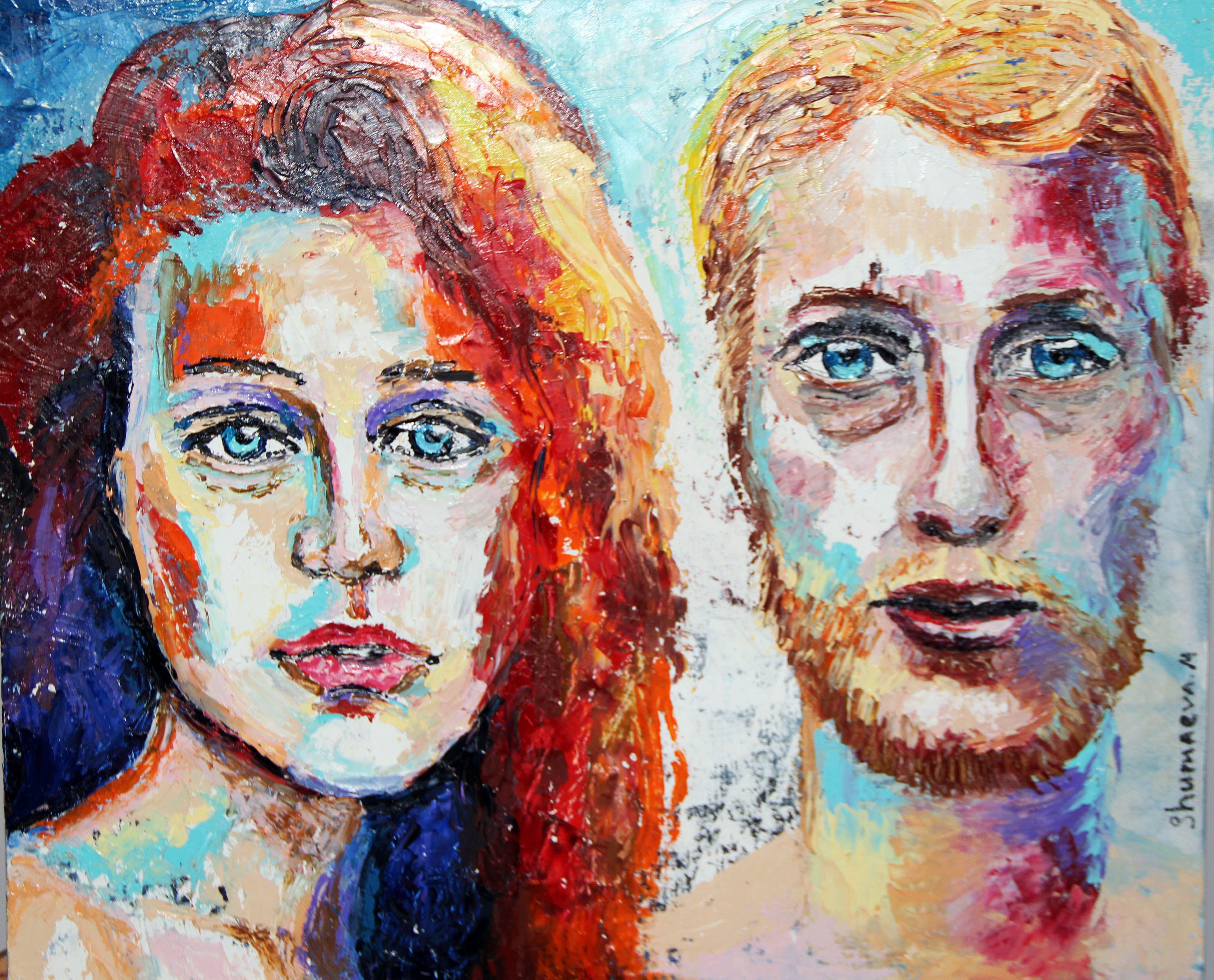 абстракция люди холст живопись портрет мастихин масло
