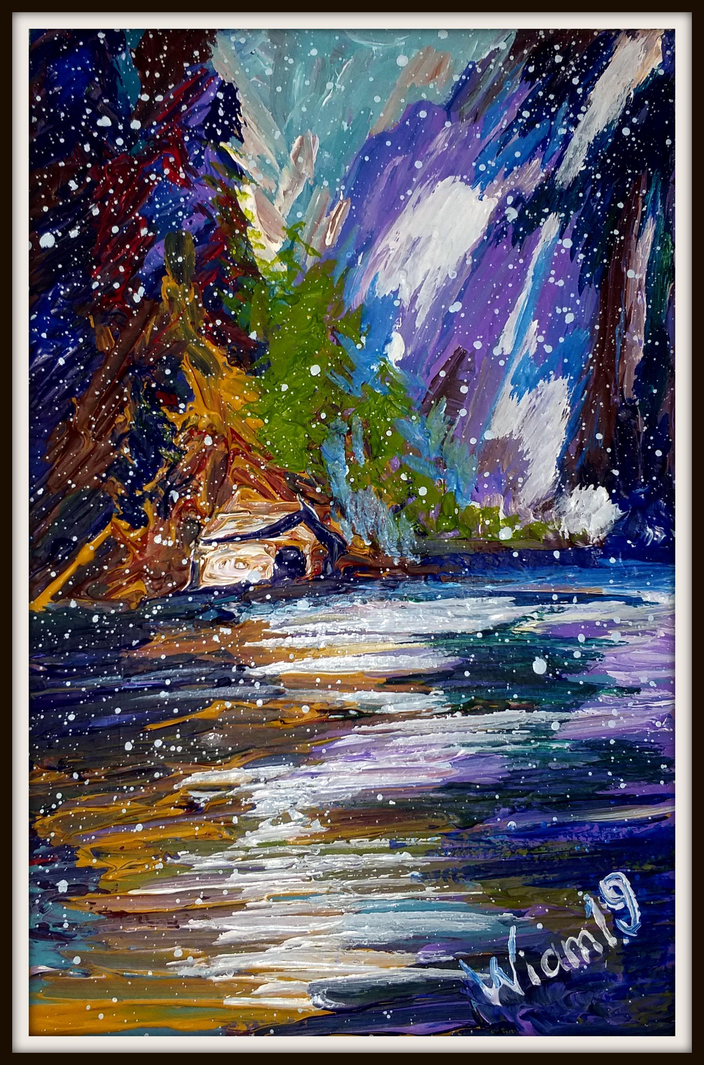 снег картина вода зима акрил горы горный живопис пейзаж