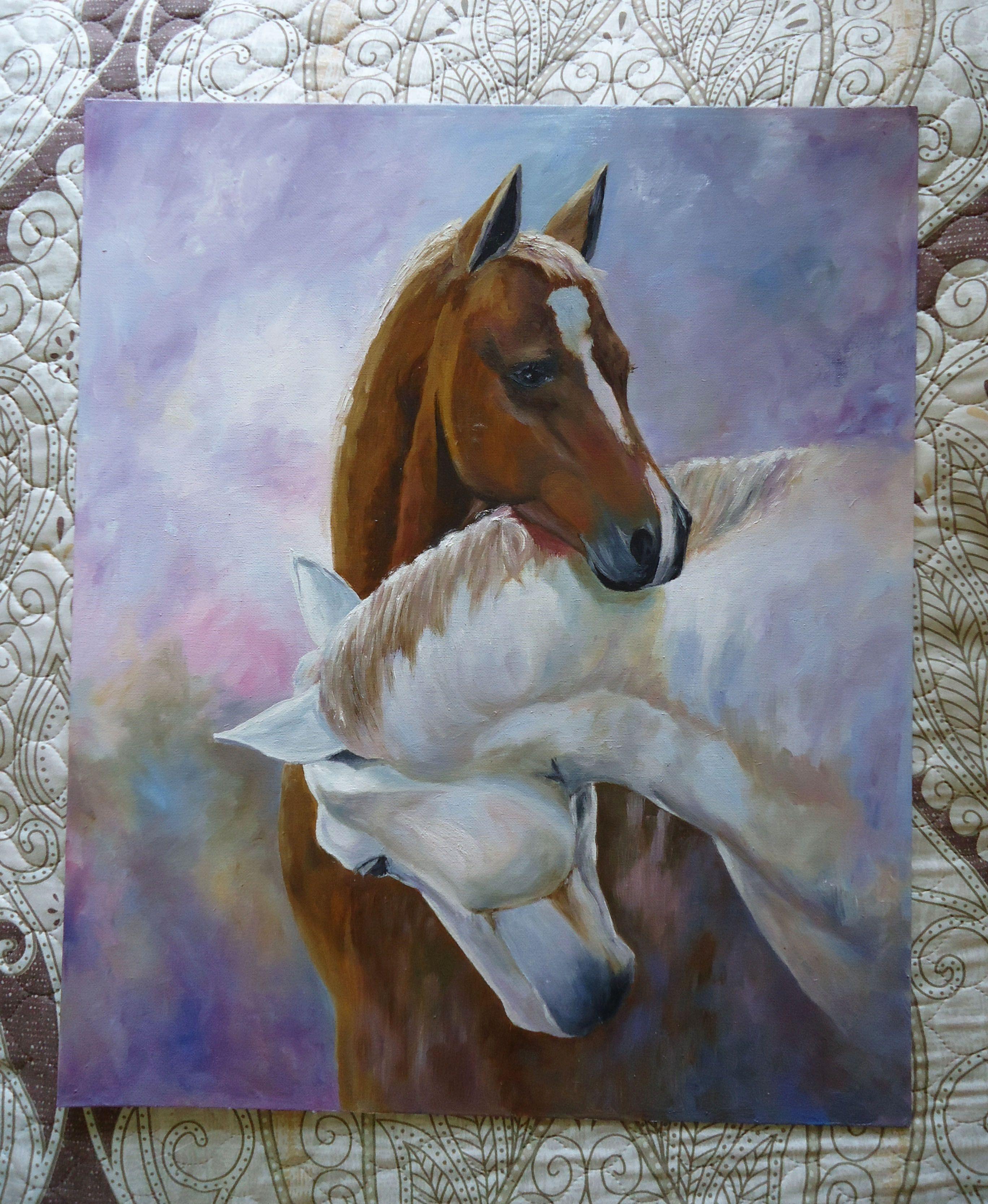 холст кони подарок масло лошади картина живописьмаслом животные