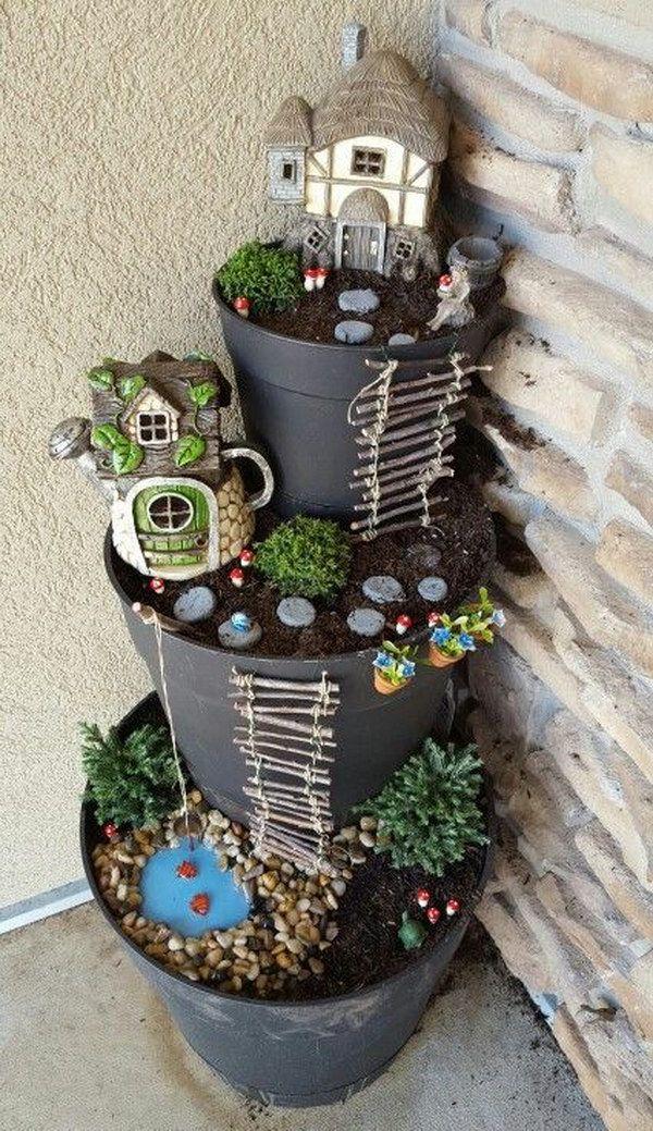 миниатюры горшок дома феи цветочный сказочный для дом идеи сделай сам дети