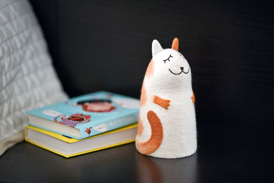 ночник светильник кошка войлочный интерьер кот рыжий войлок полосатый