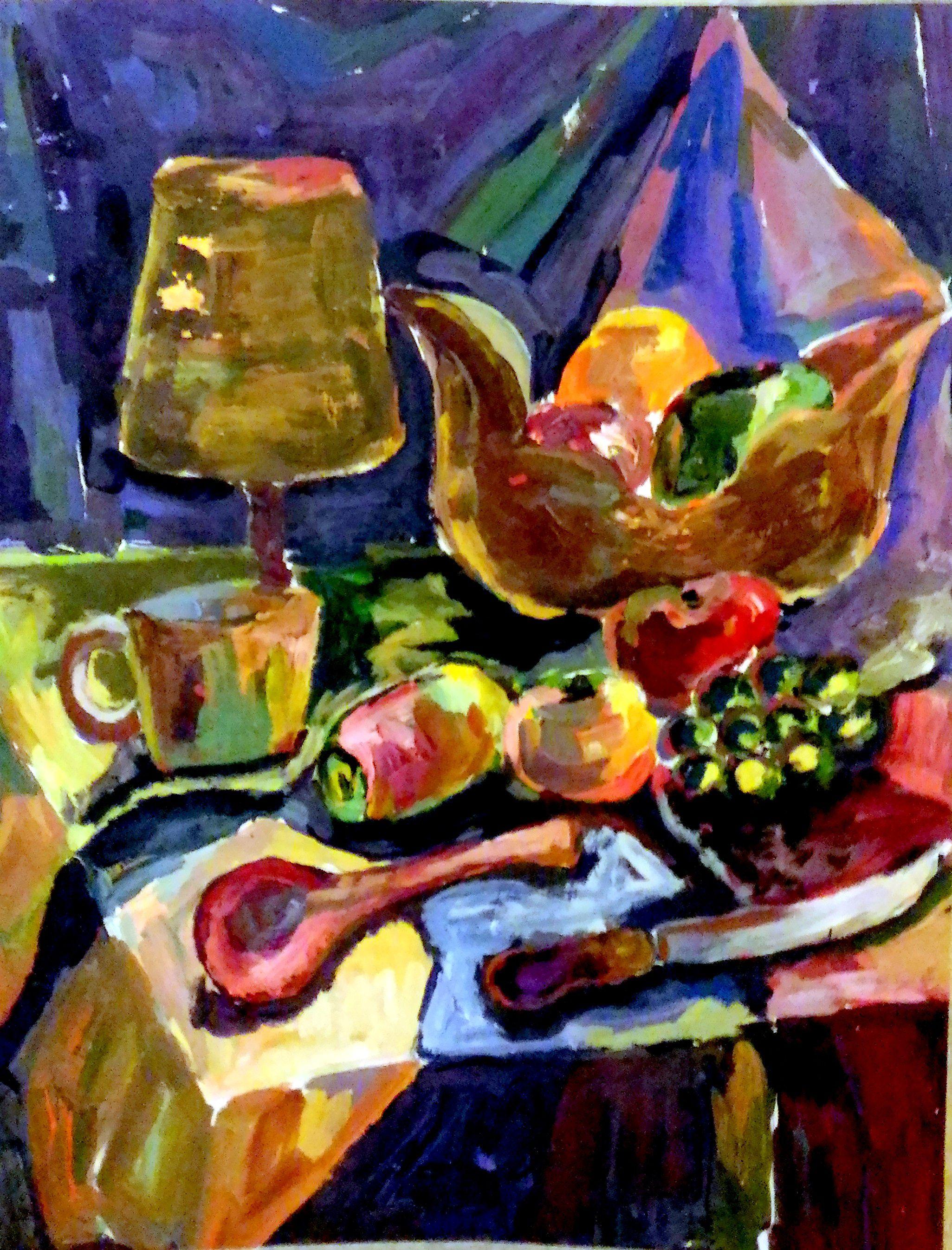 картина современная гуашь постимпрессионизм гоген живопис фрукты натюрморт