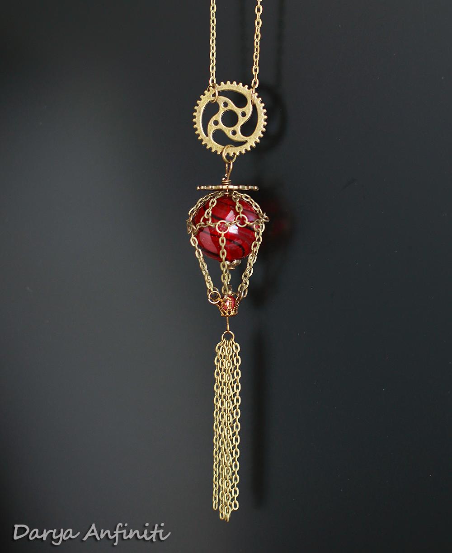 цепочка шар стеклянный ручная красный стимпанк хендмейд подвеска бронза шестеренки необычное