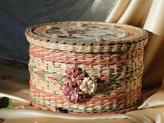 плетение бумажные трубочки корзинка бумаги