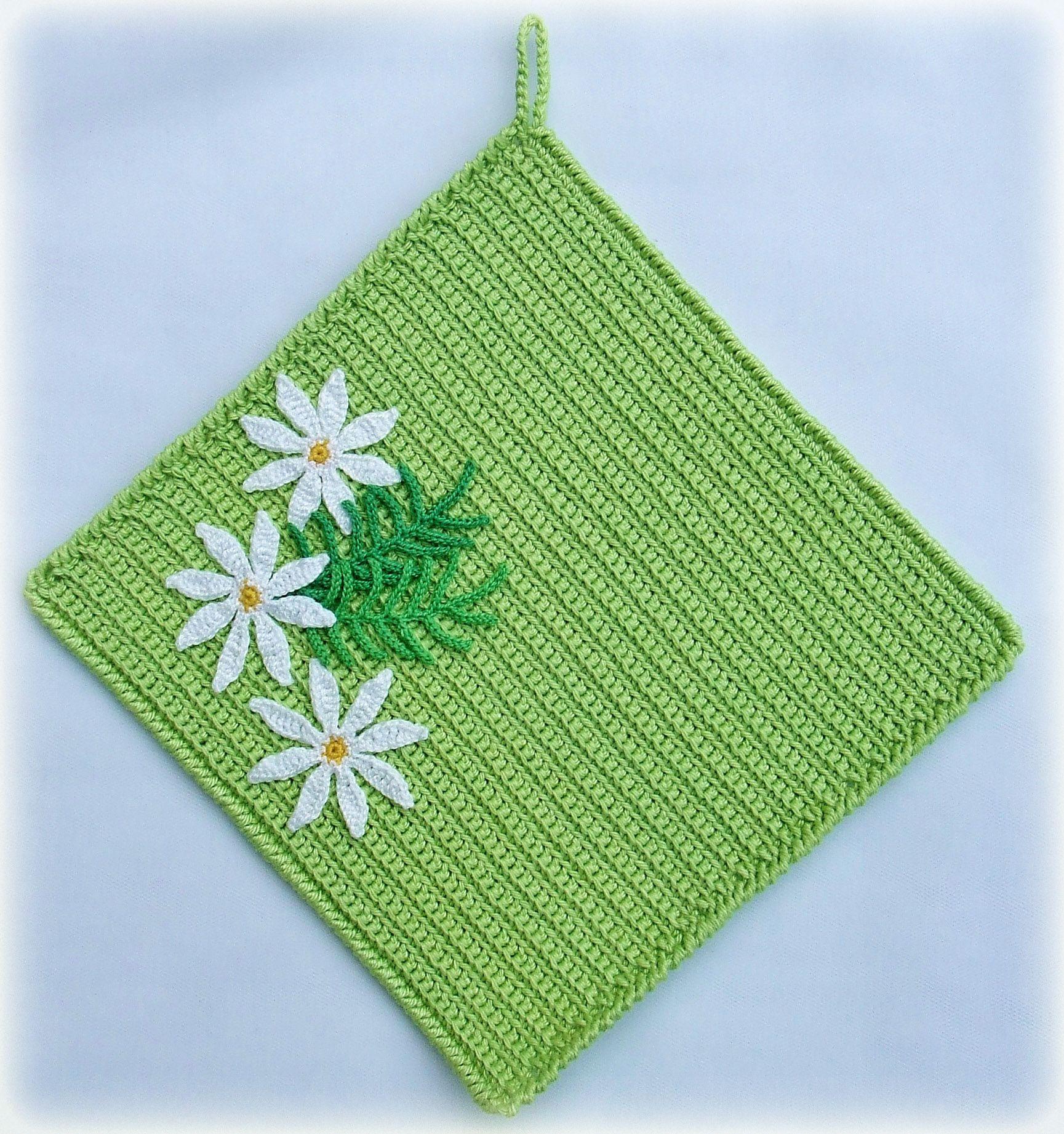 кухонный ромашки вязание кухня прихватки крючком зеленый