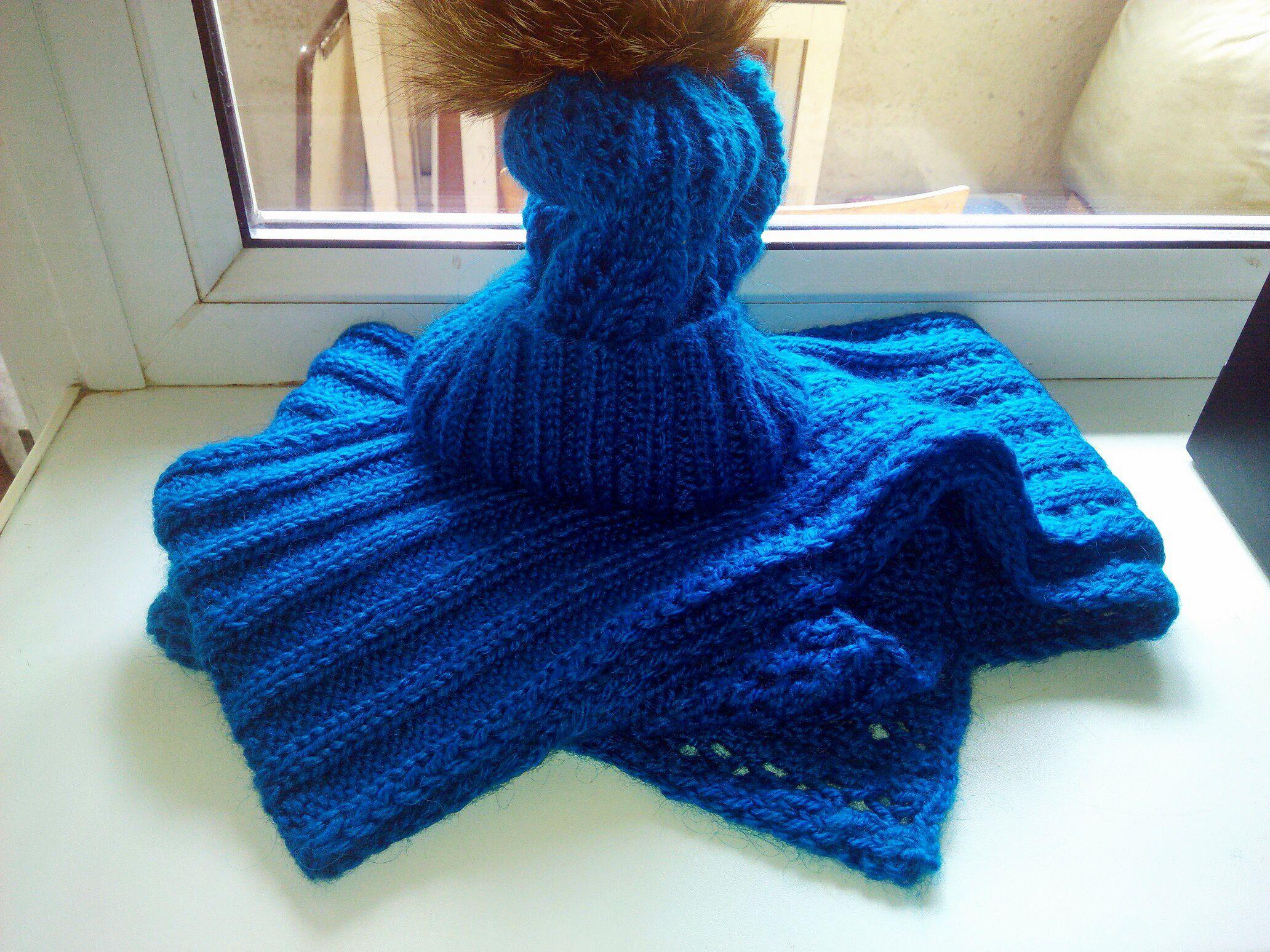 синий мех комплект зимний шапка голубой шарф зимняя