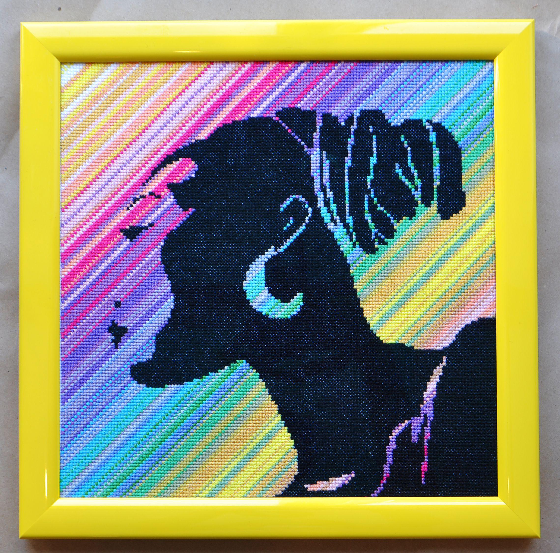 вышитая крестом вышивка негритянка картина