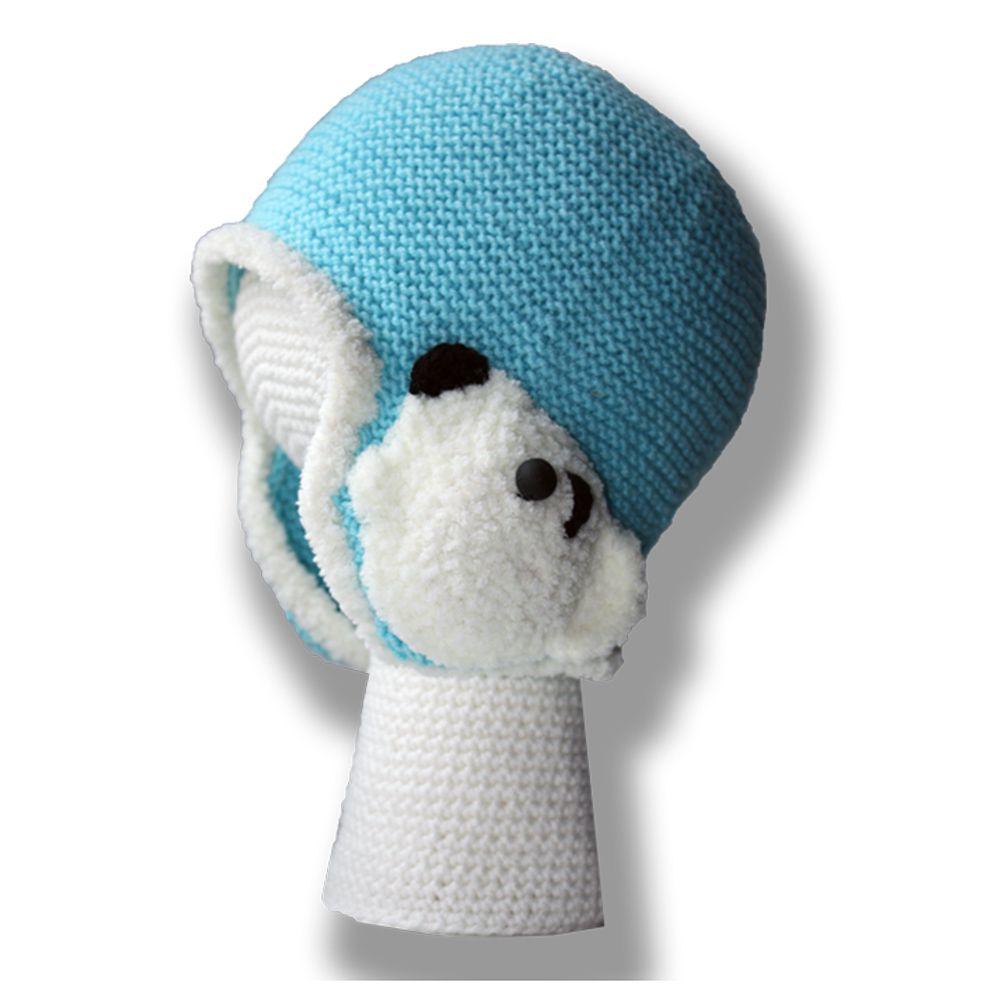 голубая спицами милая плюшевая и мягкая наушники малыша связанное аксессуары мишка ручная детские для детям шляпы шапки продажа купить работа умка