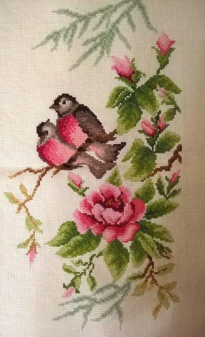 нежно нежный крестом вышивка цветы роза птицы подарок ярко