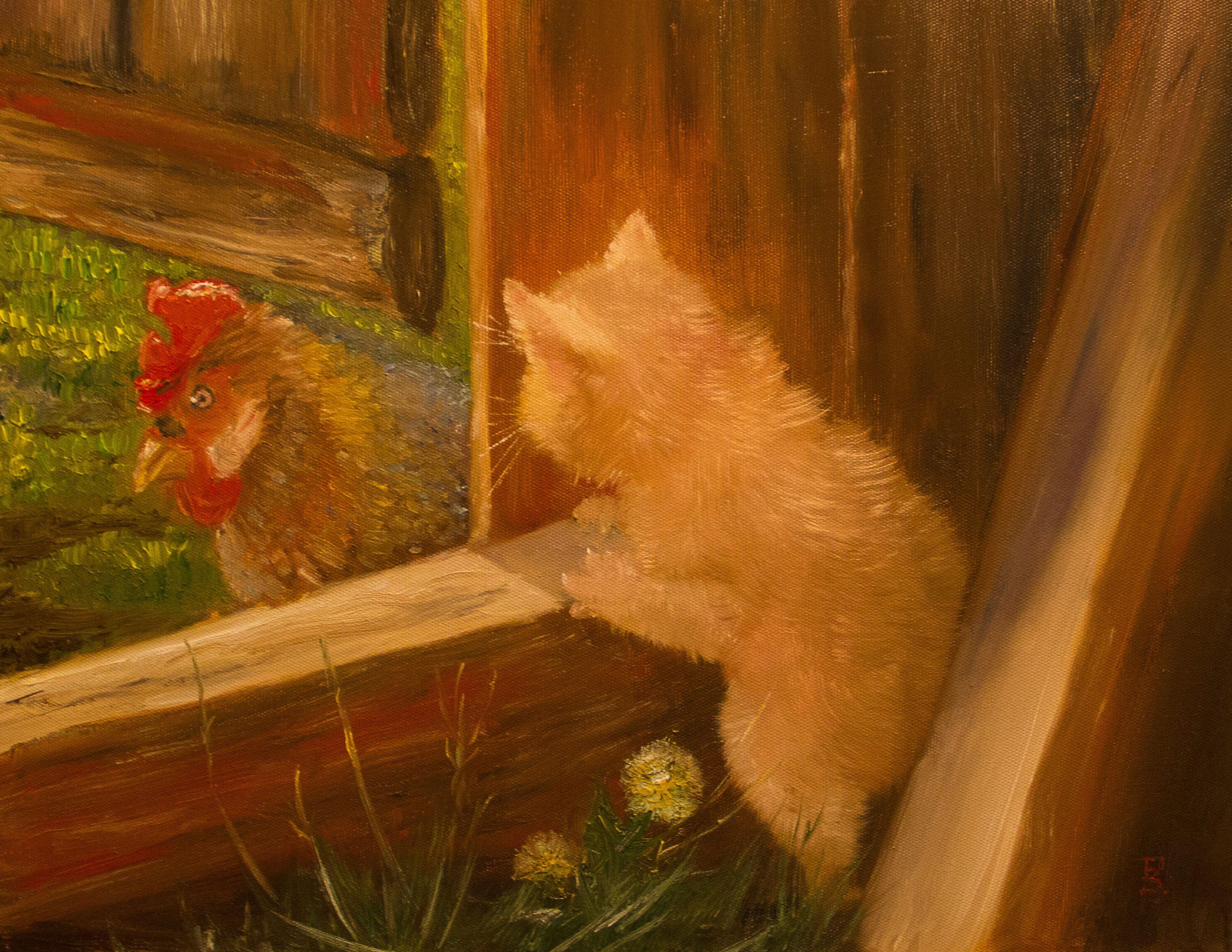 интерьера маслом сюжетная петух живопись кот украшение картина