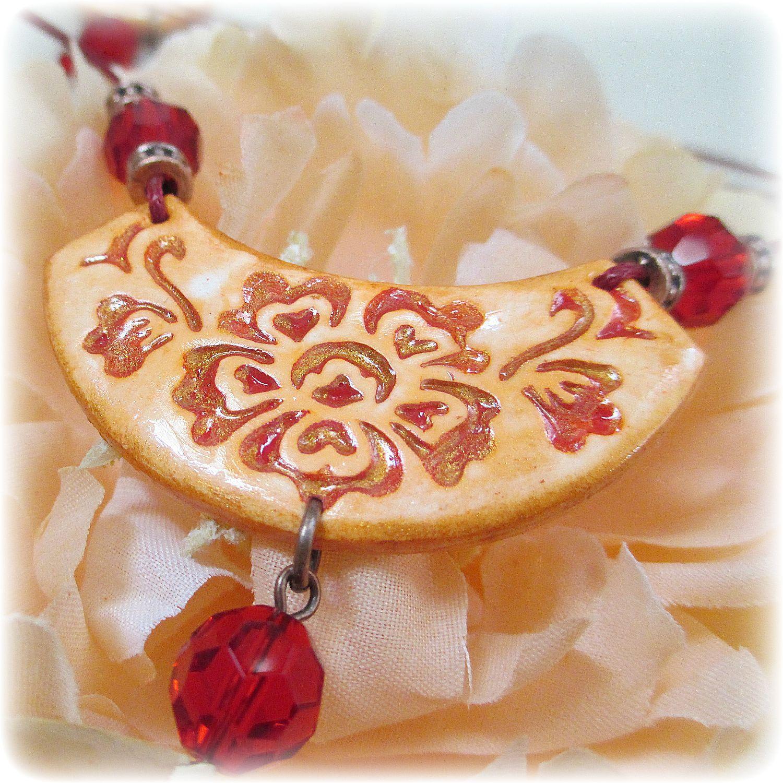 оттиск винтаж серьги романтика бижутерия комплект кулон полимернаяглина цветы красный