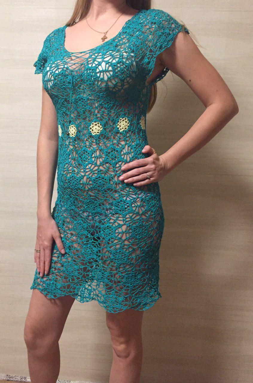 ажурная кружево вязаное платье туника пляжная мотивами крючком