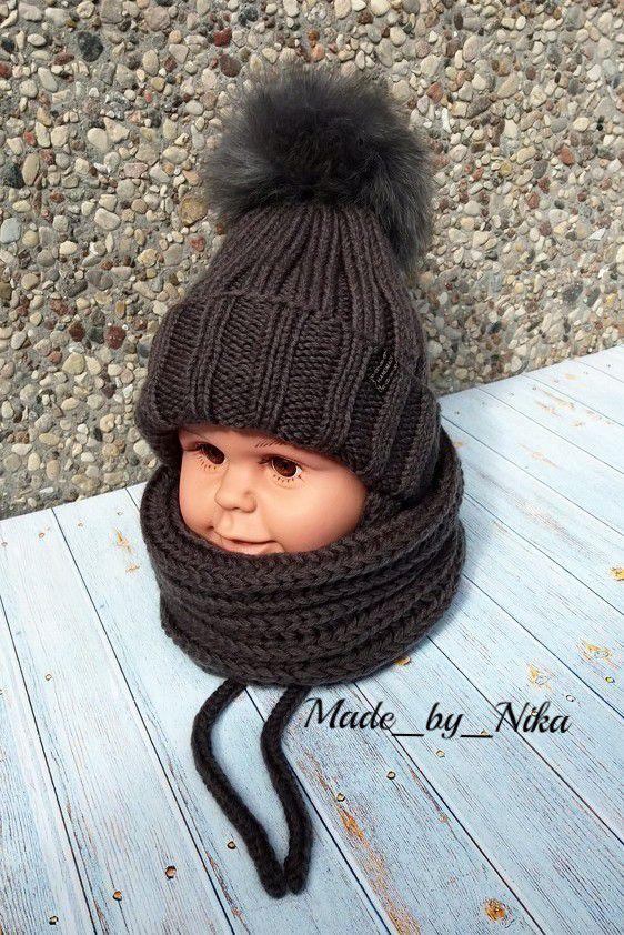 комплект шапочка длямальчика длядевочки малышам головныеуборы назаказ младенцам вязаный спицами шапка снуд стиль длядетей мода