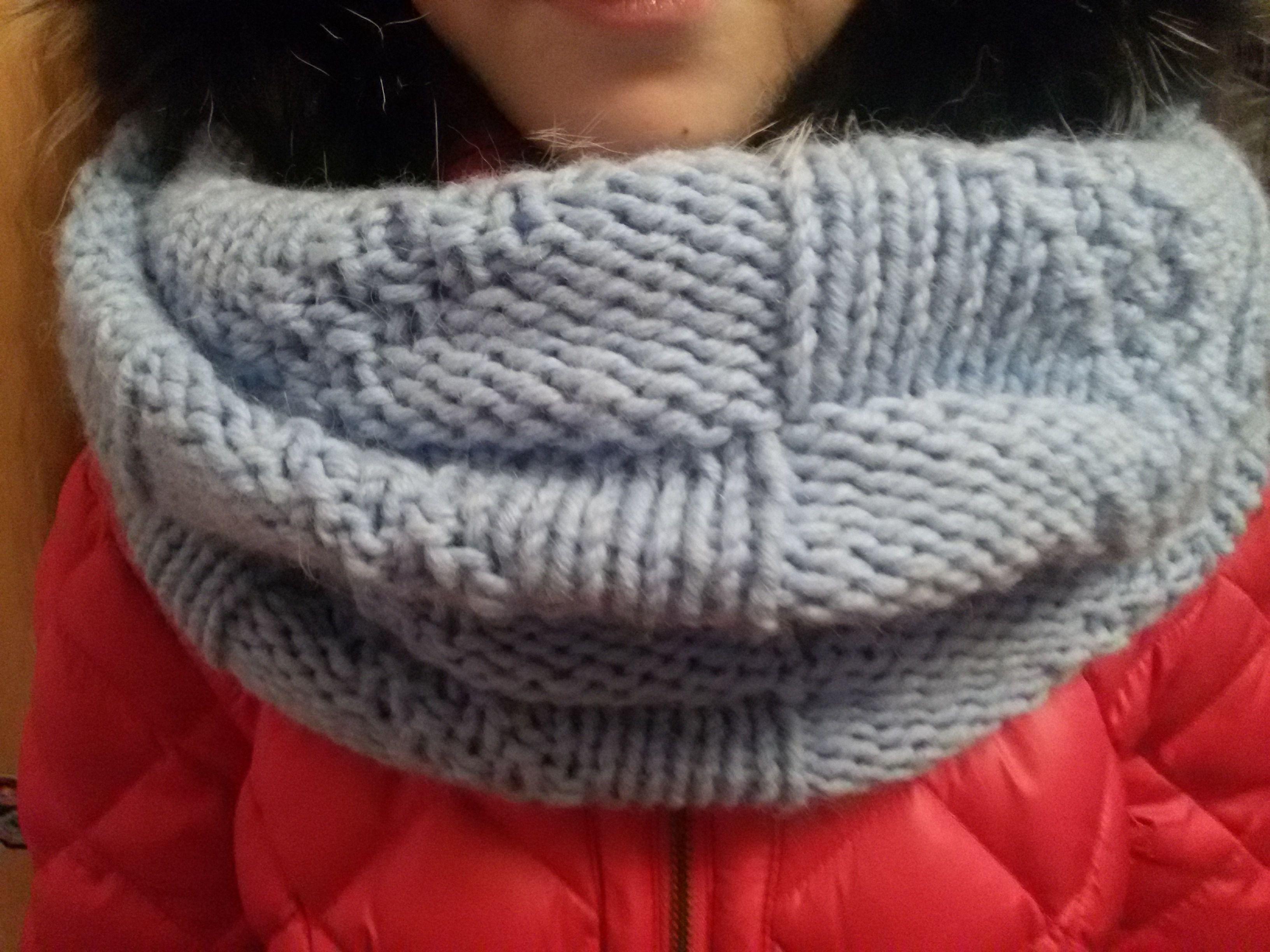 из шерсти теплый снуд вязаный с женский два голубой длинный орнамент шерстяной ручной шарф работы узором оборота шарфтруба в спицами