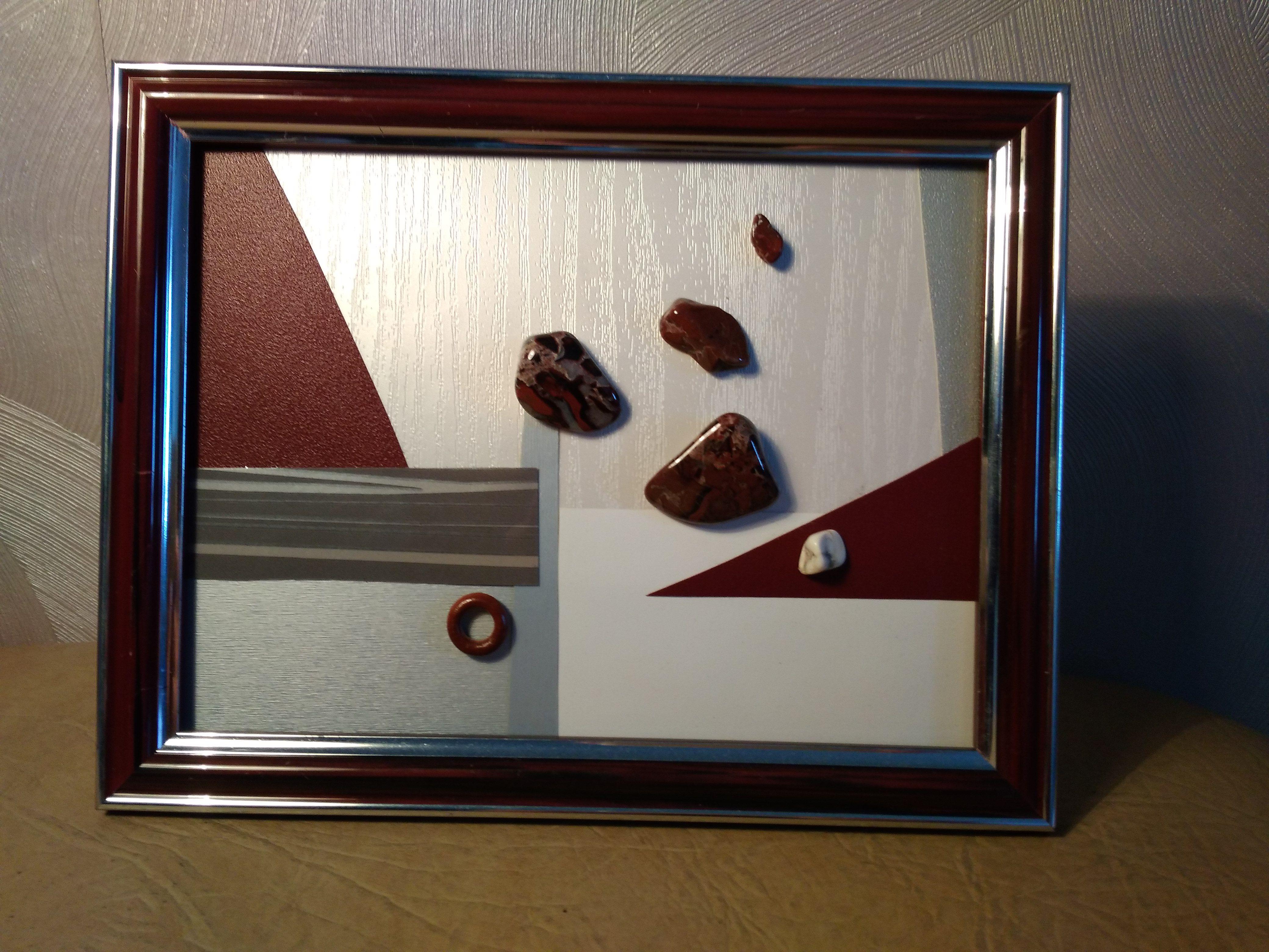 рамка кахалонг бордовая пестрая яшма деревяная камни красная коллаж натуральные картина