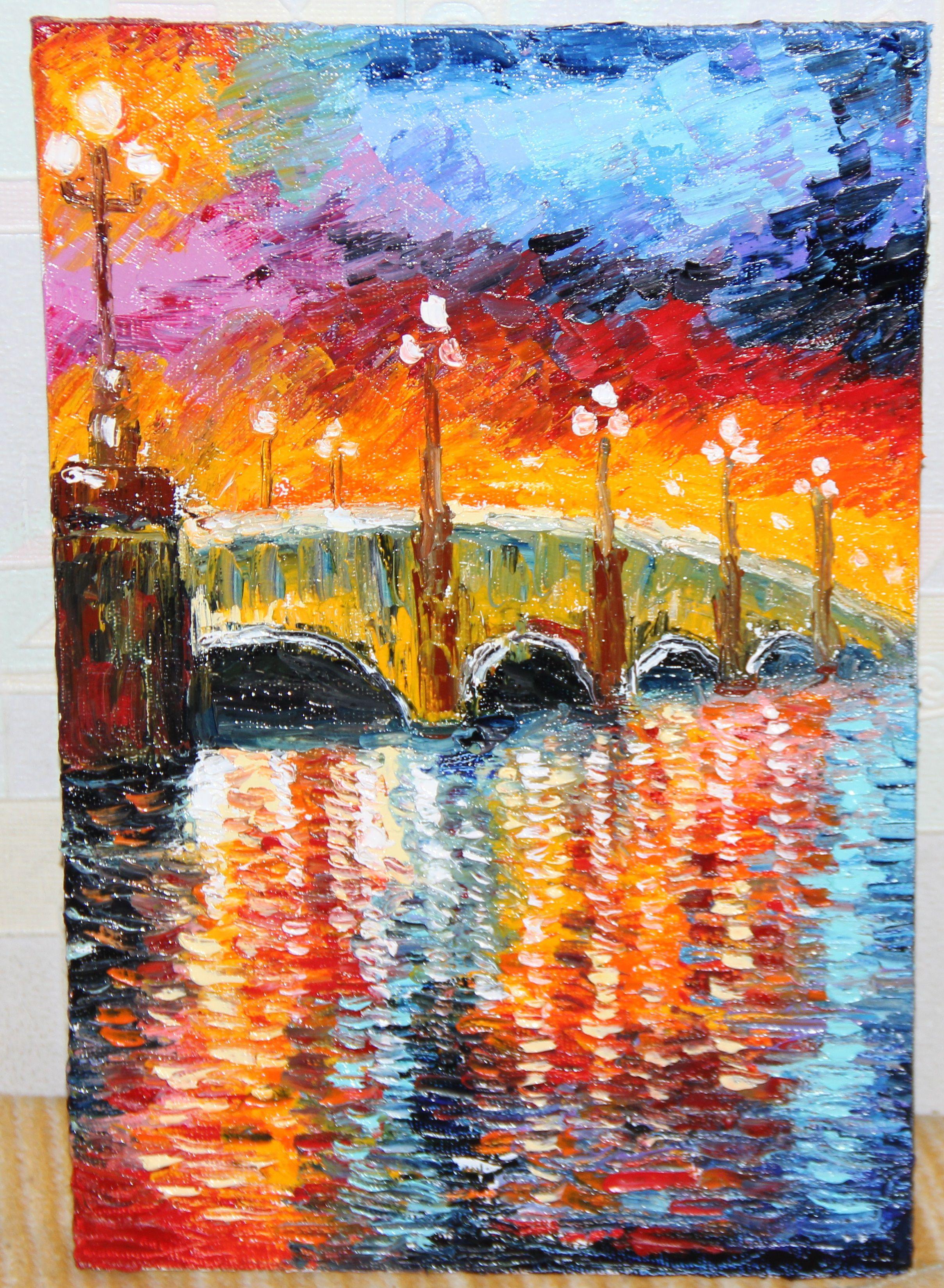 холст река мостик масло мастихин абстракция живопись пейзаж