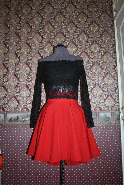 красная солнце клеш пышная классическая яркая юбка мини