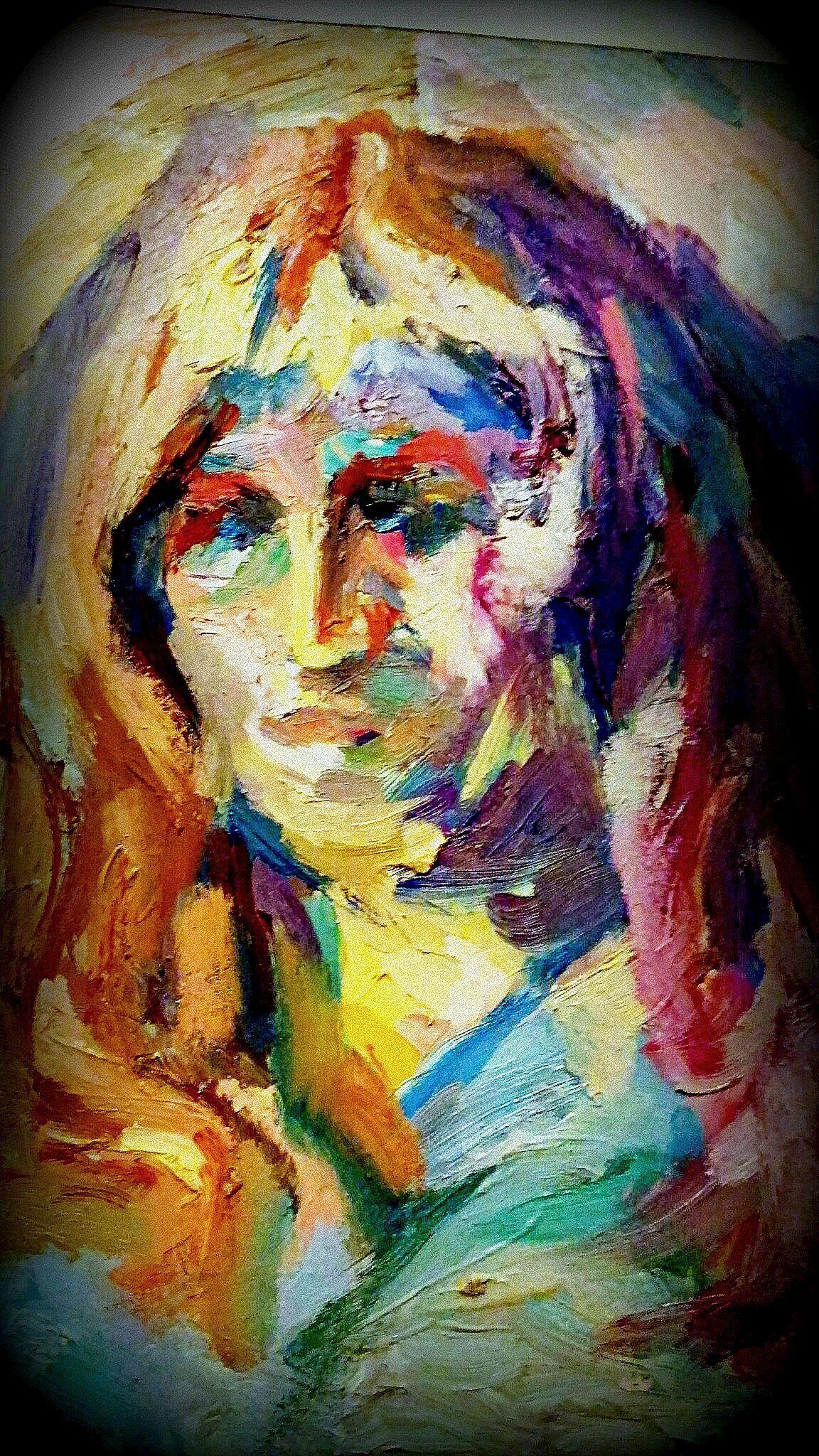 современная модель картины девушка радуга живопись девочка постимпрессионизм яркая натурщица картина