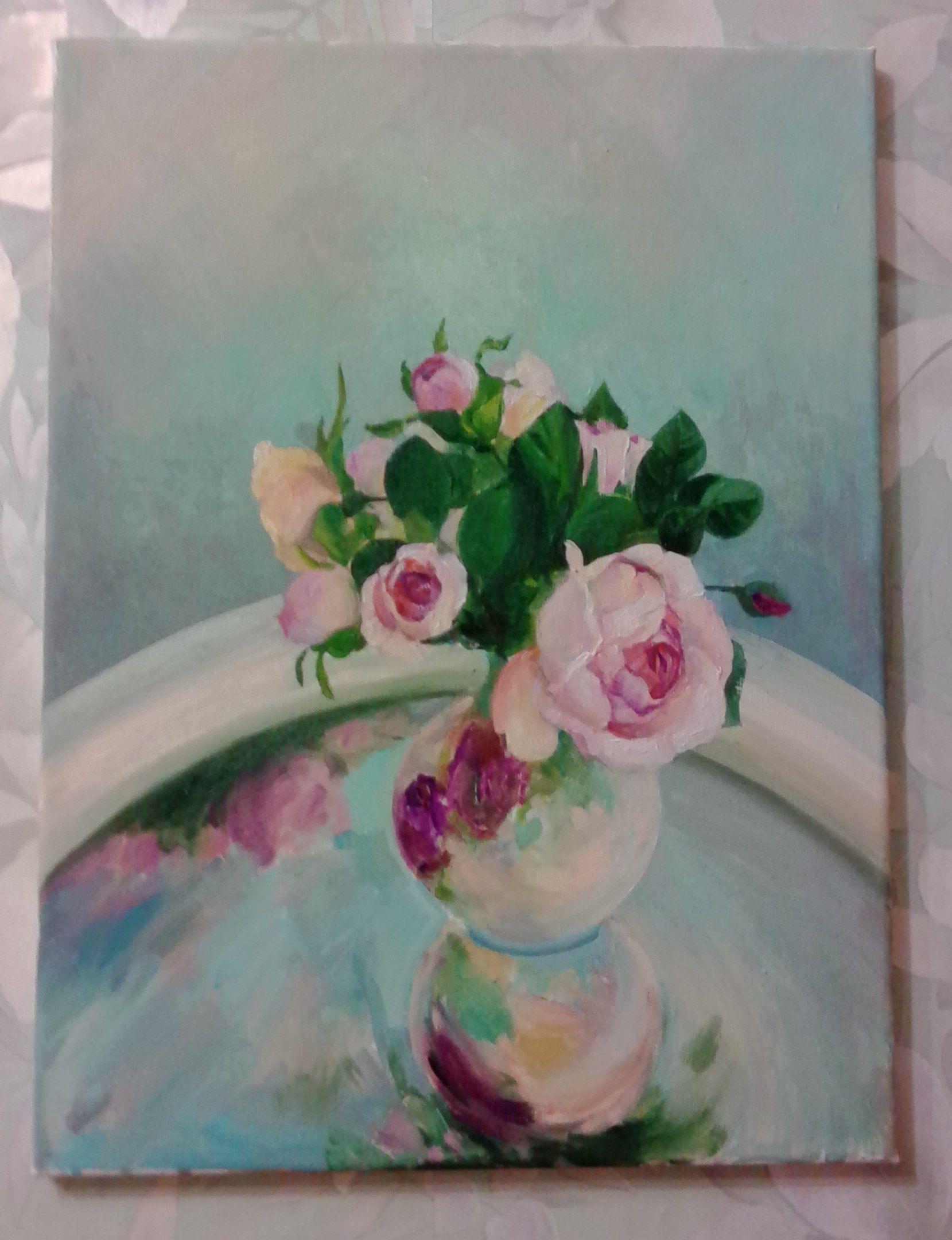 картина art розы nice цветы paint натюрморт нежно красиво