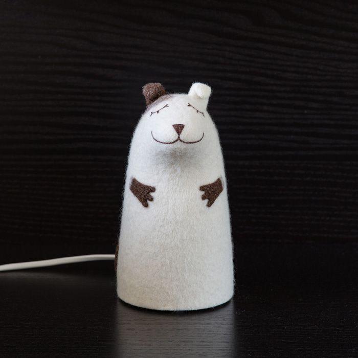 ночник белый светильник собака валяный щенок интерьер войлок коричневый