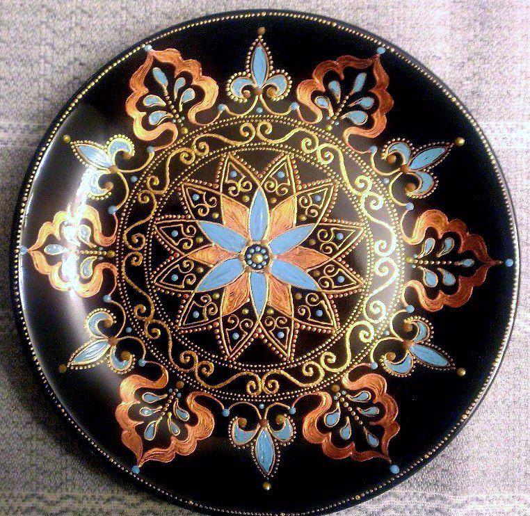 айгуль лунныйцветок декоративнаятарелка восточныеузоры тарелка точечнаяроспись handmade декор ручнаяработа подарок