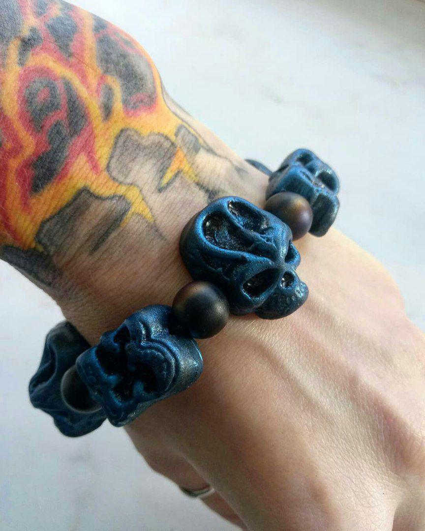 handmade skull готично gotch брутально череп синий длядевушек украшение fimo ручнаяработа браслет подарок
