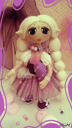 кукларучнойработы блондинка фиолетовый фея кукласконфетой сладкоежка карамелька эльф интерьернаякукла розовый интерьернаяигрушка подарок