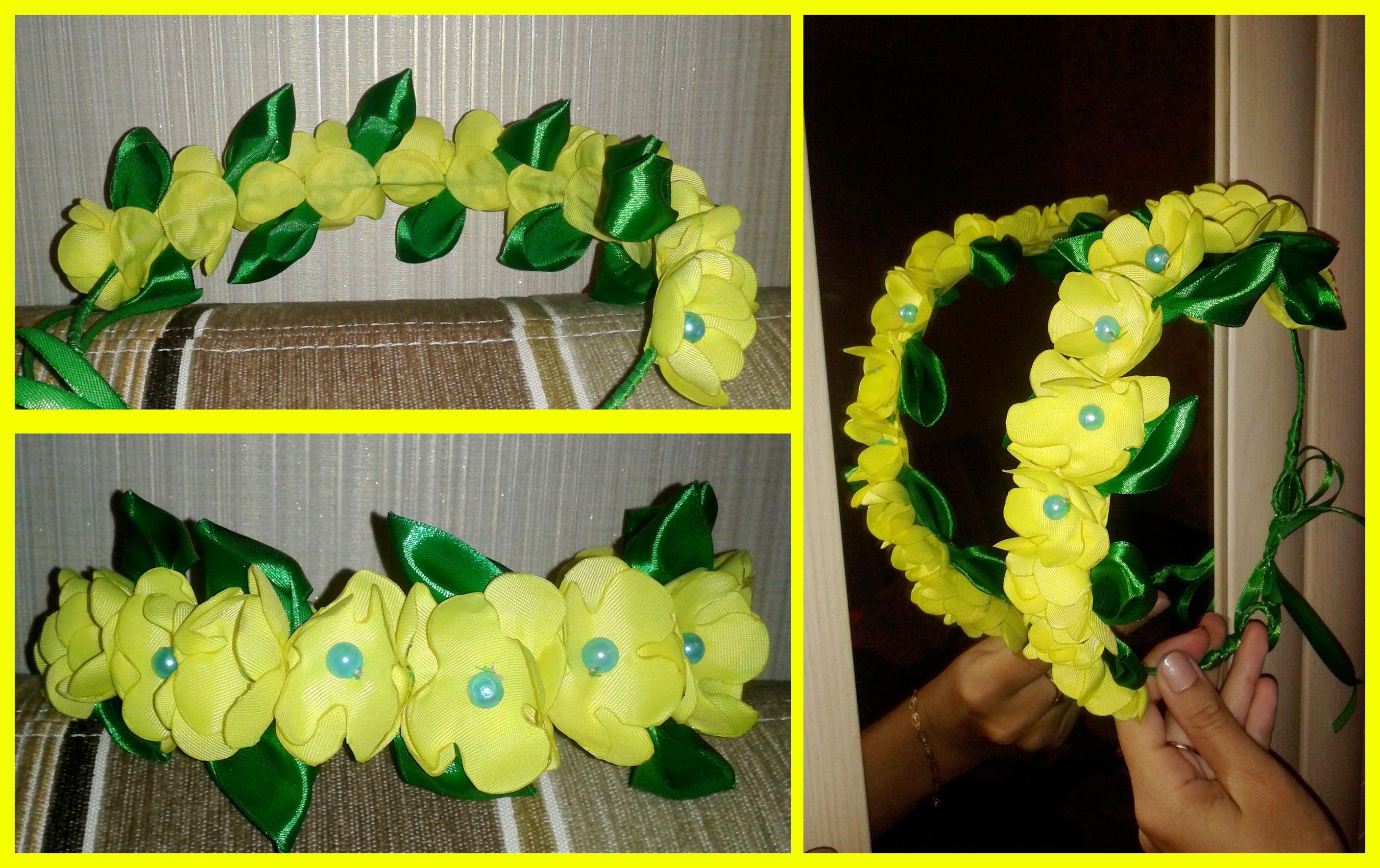 красивый бусины нежный желтый ткань венок цветы яркий