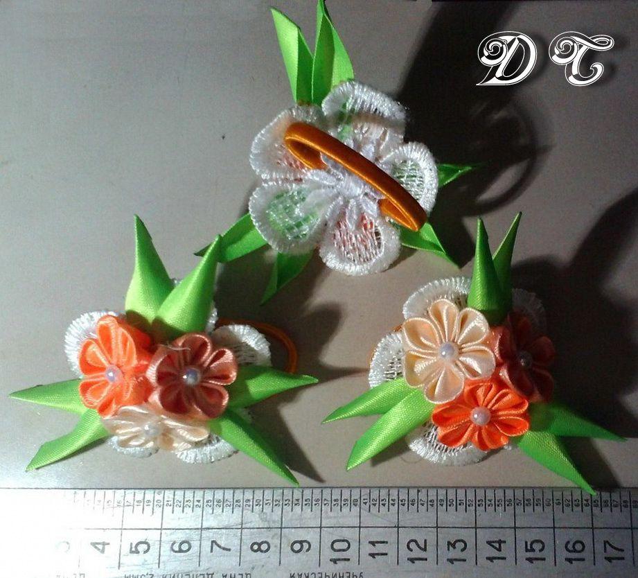 резинки работа цветочки ленты ручная для волос hand украшения канзаши made