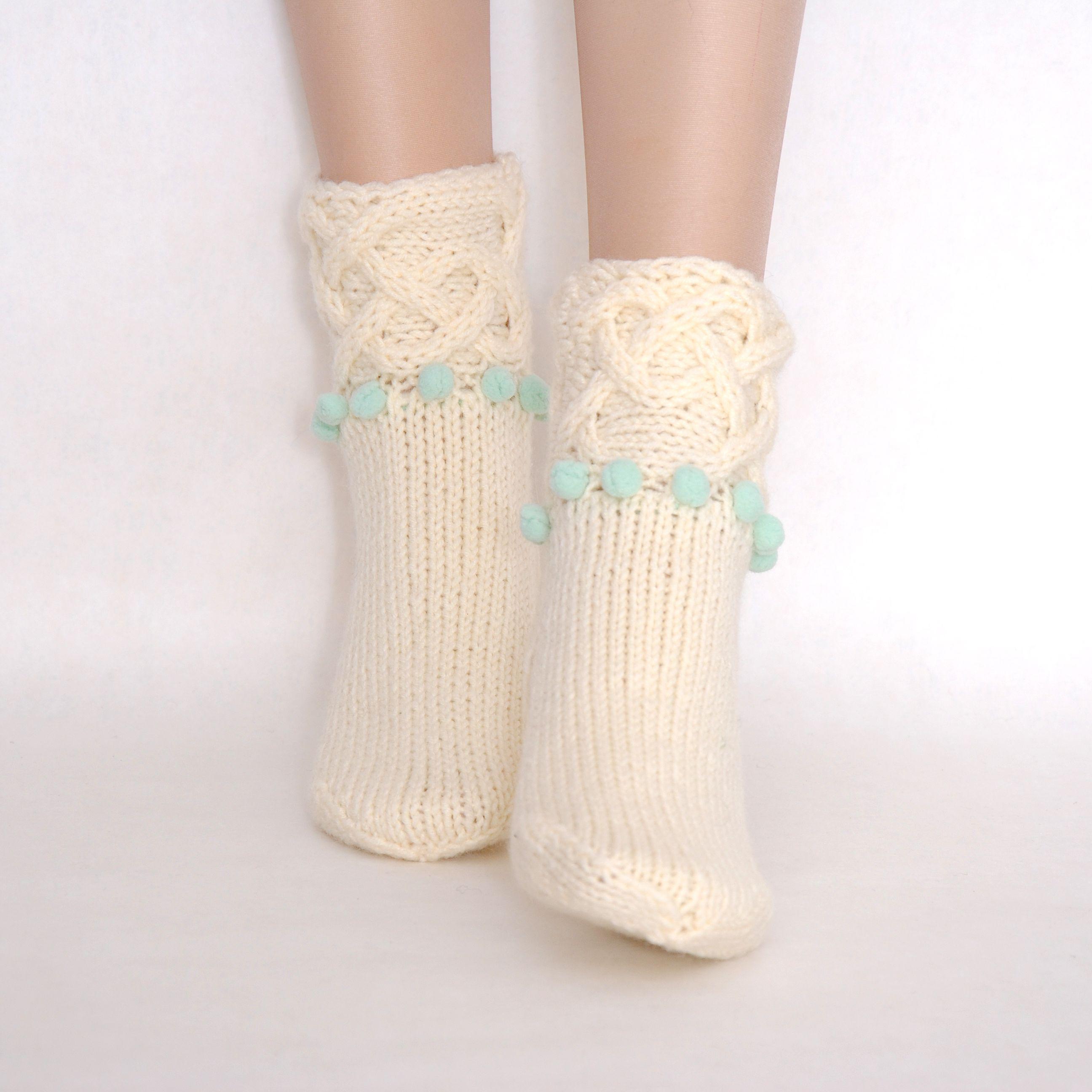 тёплые носки уютные женские бохо купить подарок вязаные