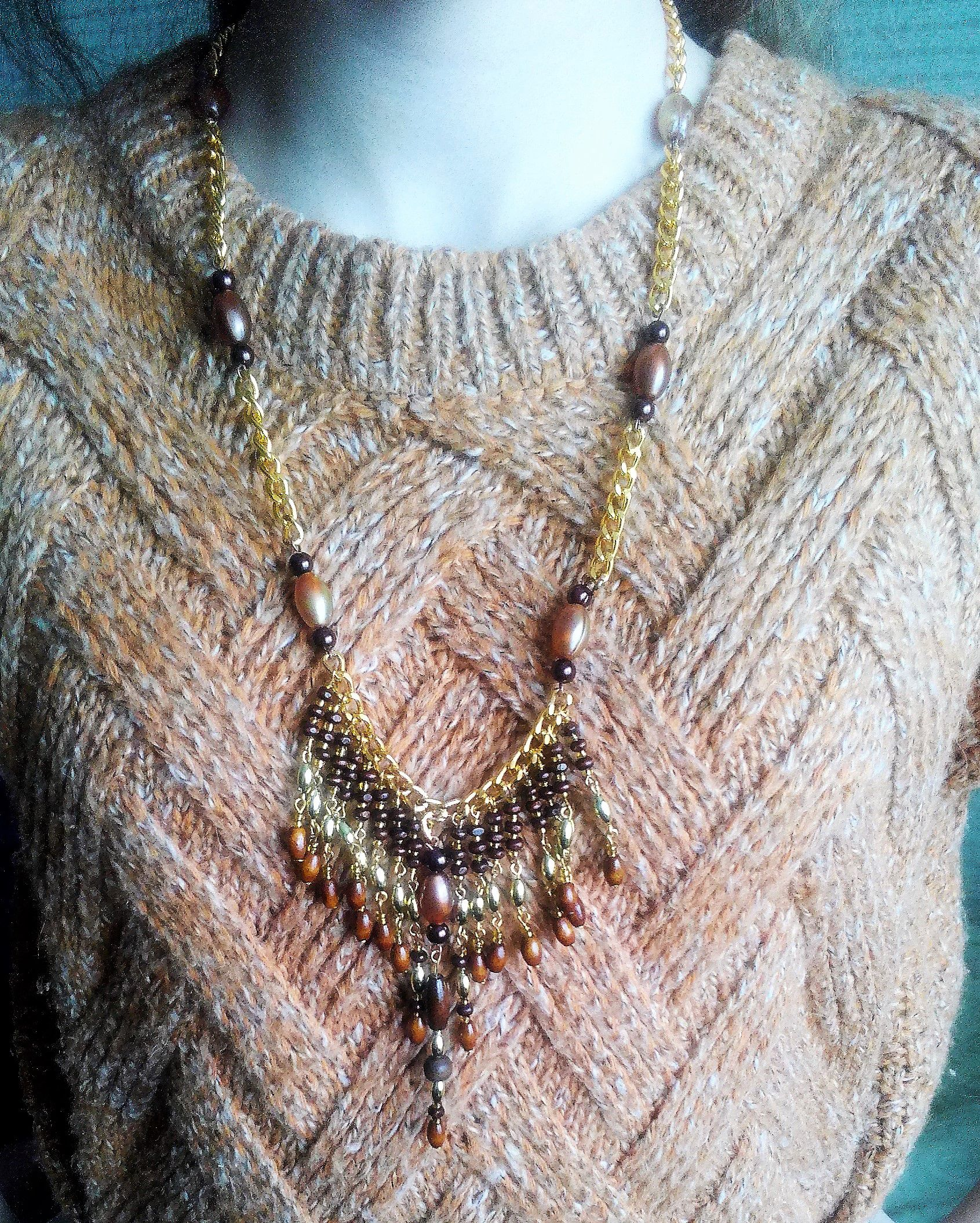 девочке девушке золотистое коричневое подарок женщине ожерелье