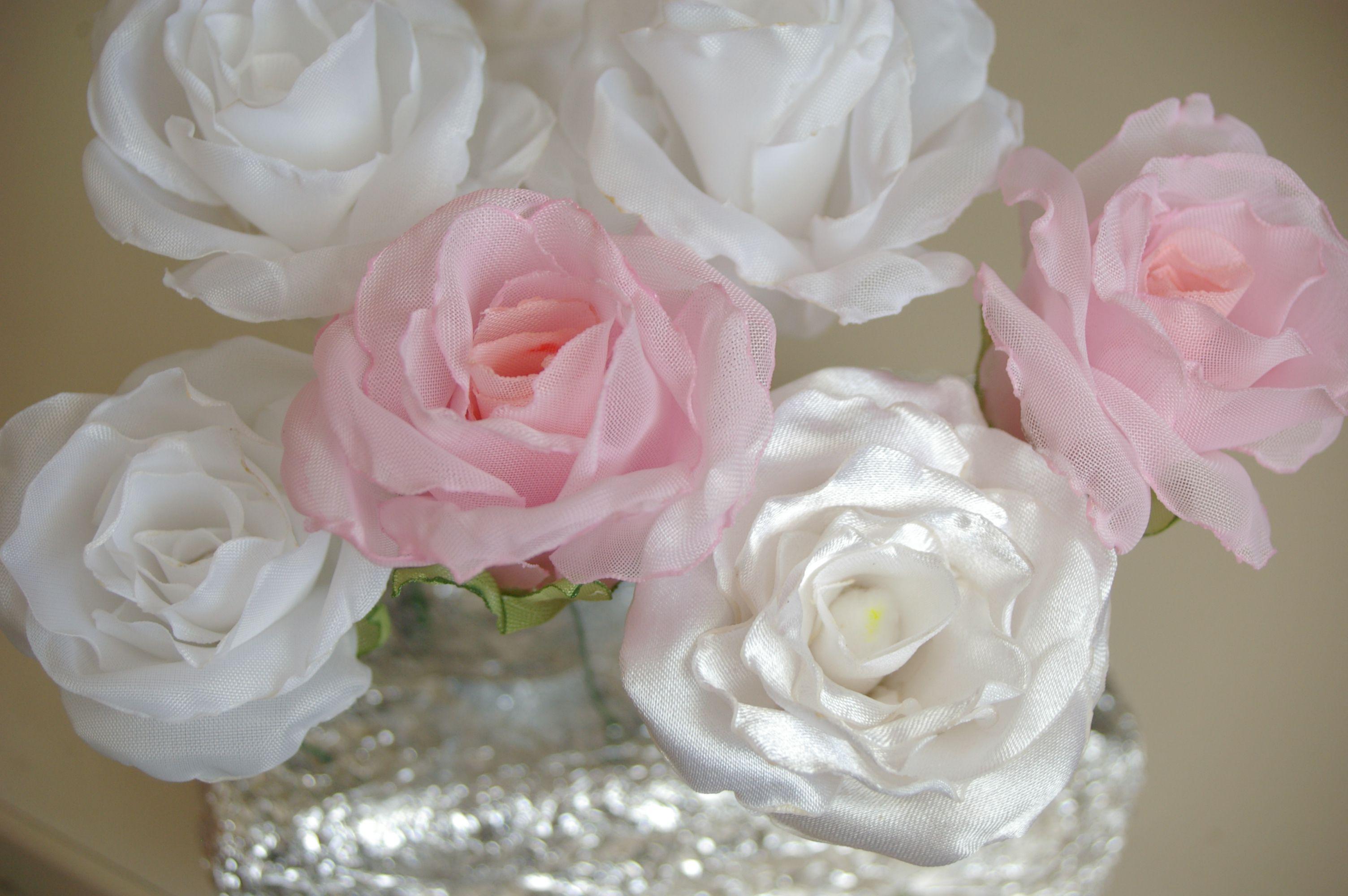 из розы ткани цветы в причёска причёску