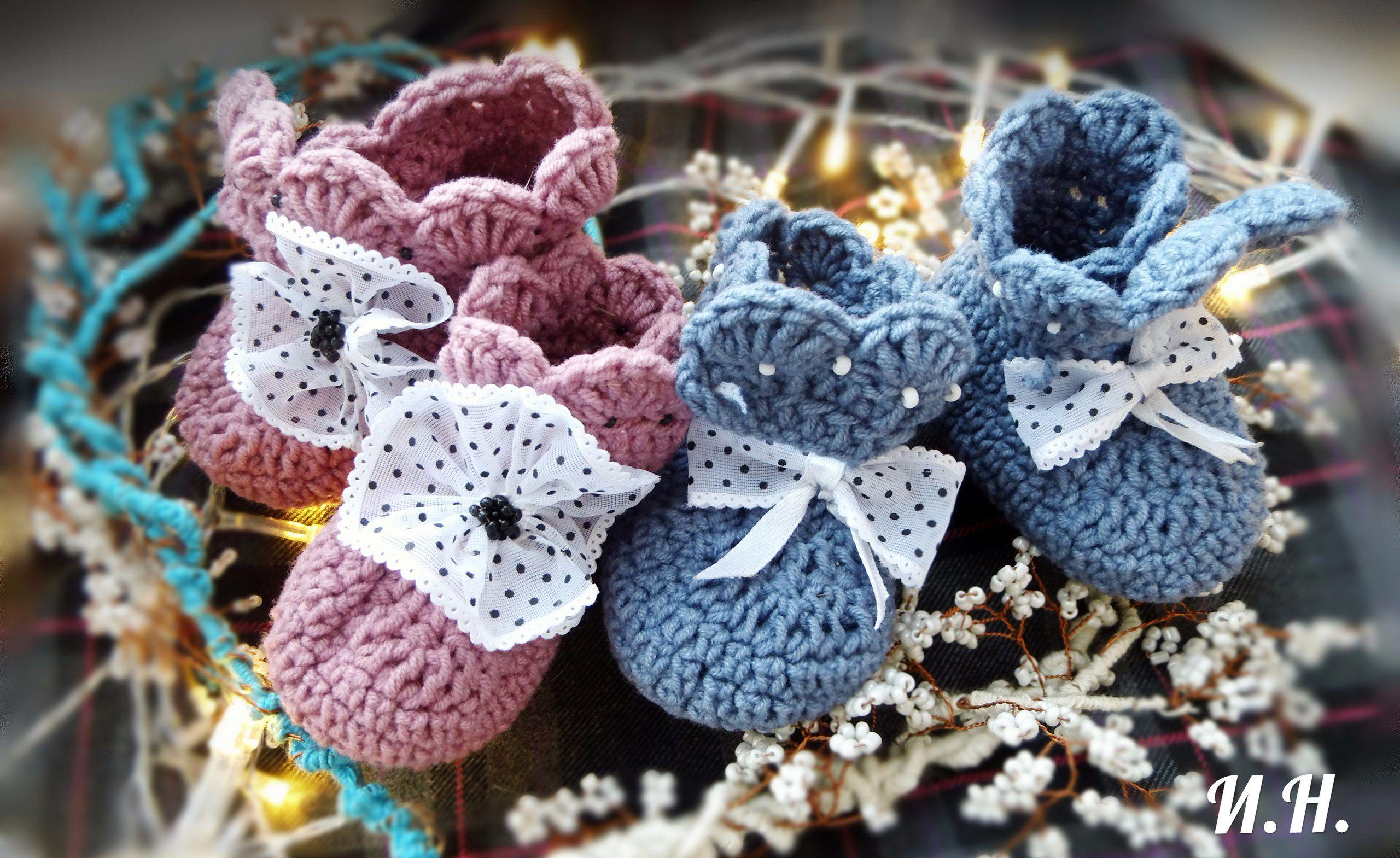 новорожденным вязаная_одежда пинетки вязание малышке
