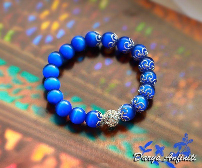 глаз украшение браслет синий хэндмейд браслеты кошачий