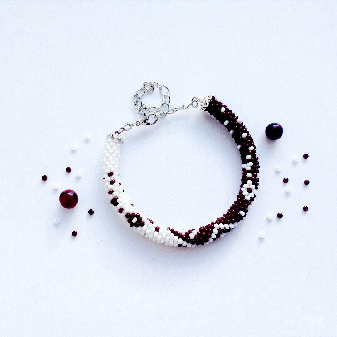 украшения бисер браслет handmade бижутерия крючком