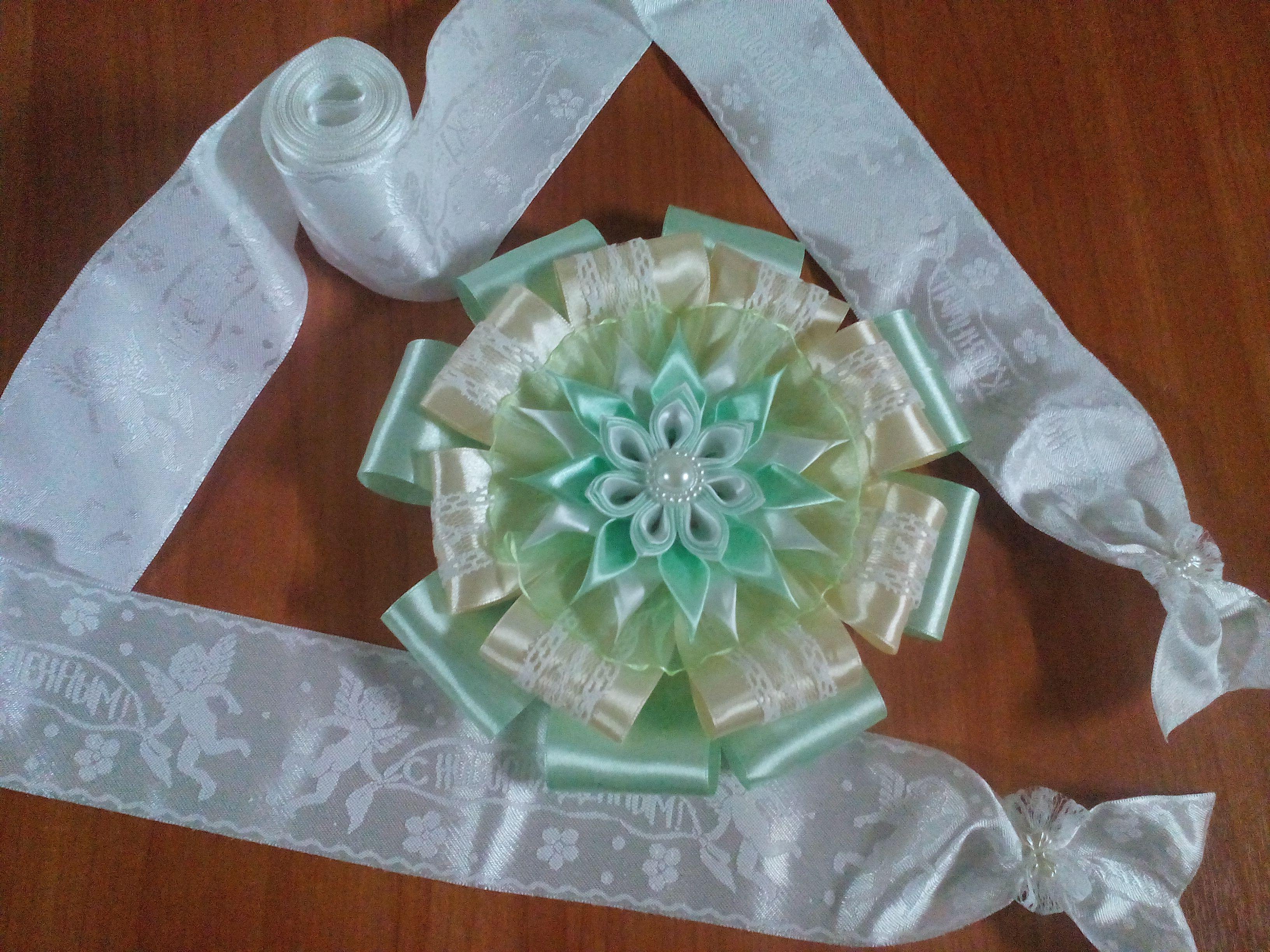 подаркиноворожденным цветыизлент канзаши ручнаяработа
