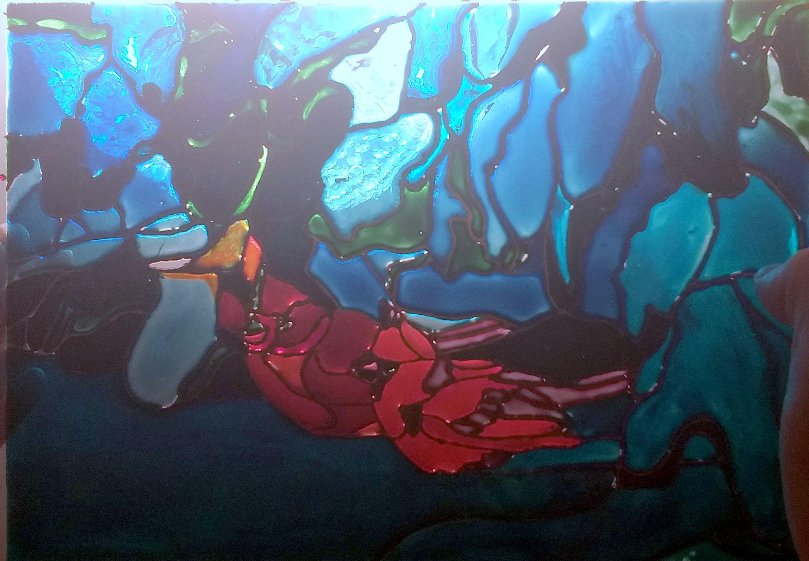 авторская арт витражная работа ручная стеклу снегирь продажа живопись роспись картины лес вещь стекло витраж