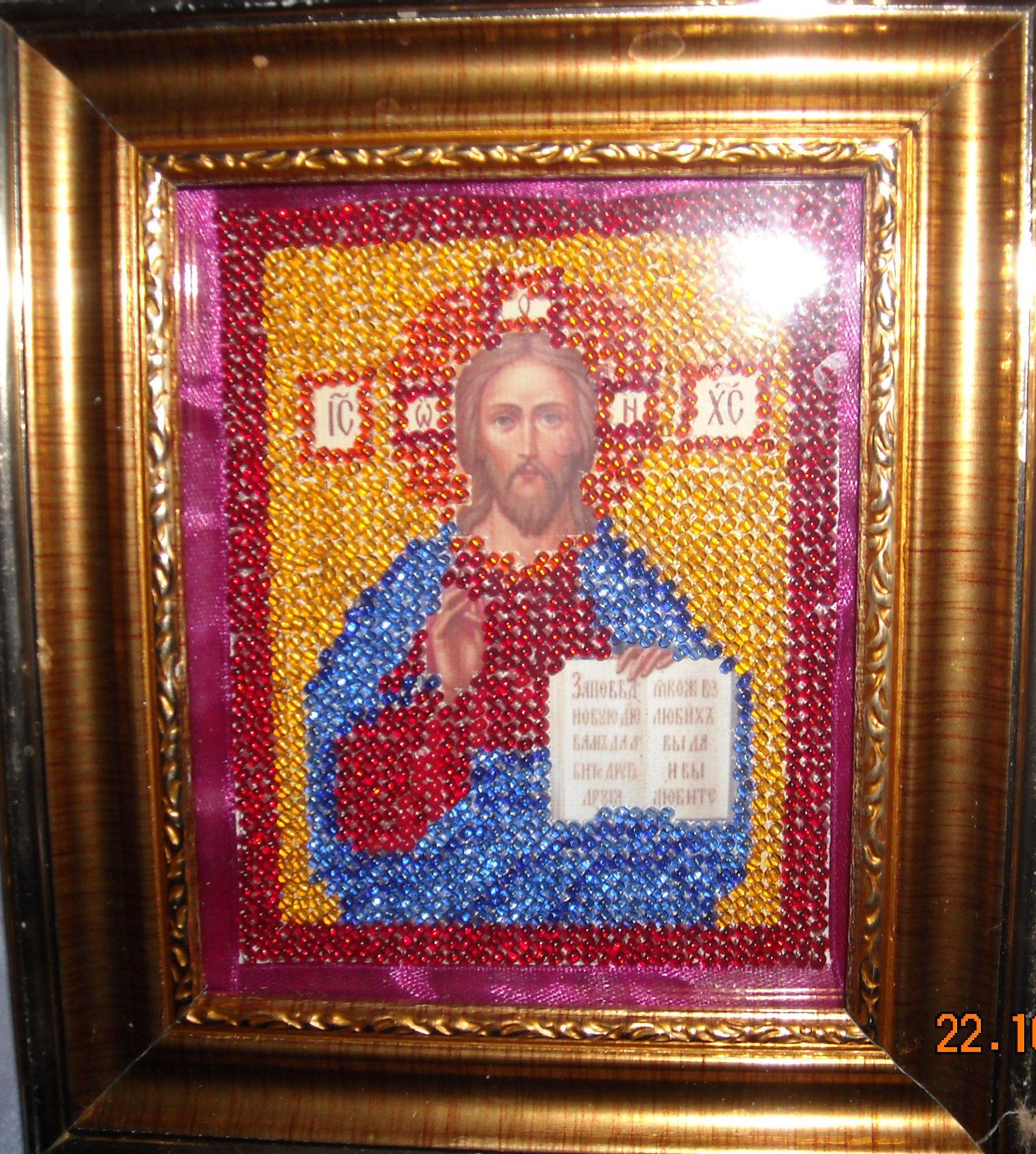 бисером христа иисуса икона образ
