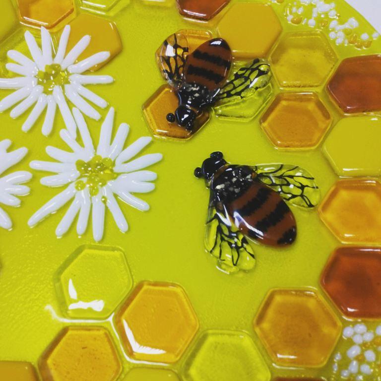ручнаяработа подарок мед медовыймесяц пчелы fusing молодоженам vitrasole ромашки свадьба