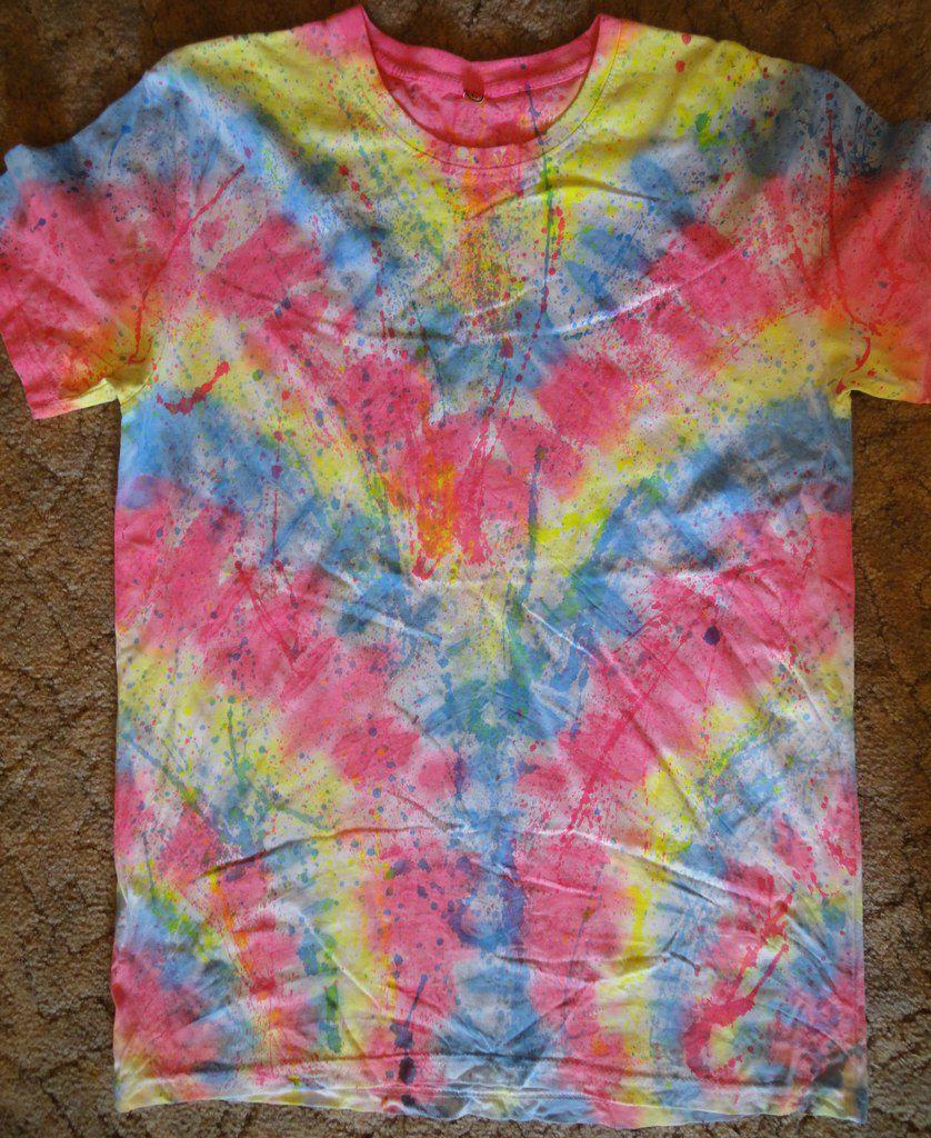 ультрафиолет тайдай батик ручная футболка радуга работа