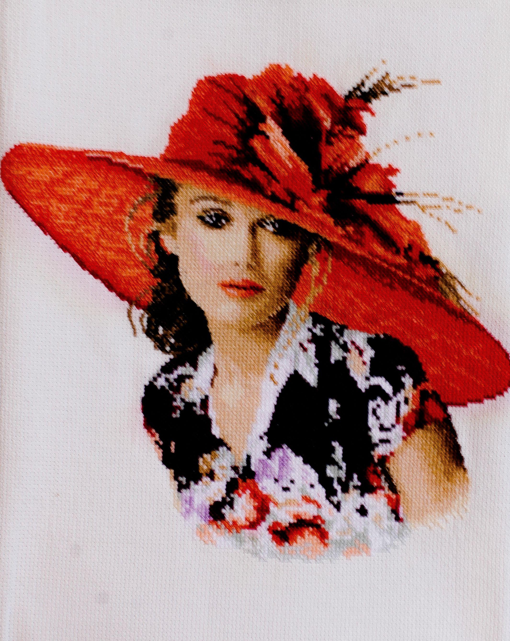 embroidery red картину купить картина подарок вышитую https cross stitch девушке шляпе girl www livemaster item 28595613 kartiny panno vyshivka devushka shlyape viktoriya art девушка красный вышивка ярко