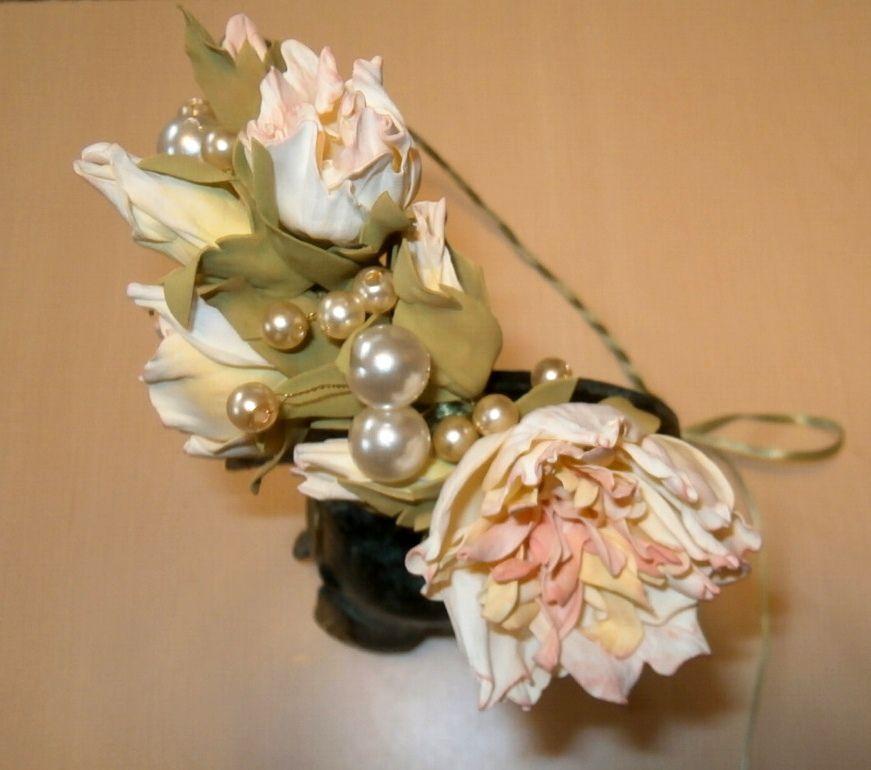 свадьба венок цветы белый фоамиран волосы бусины розовый жемчуг