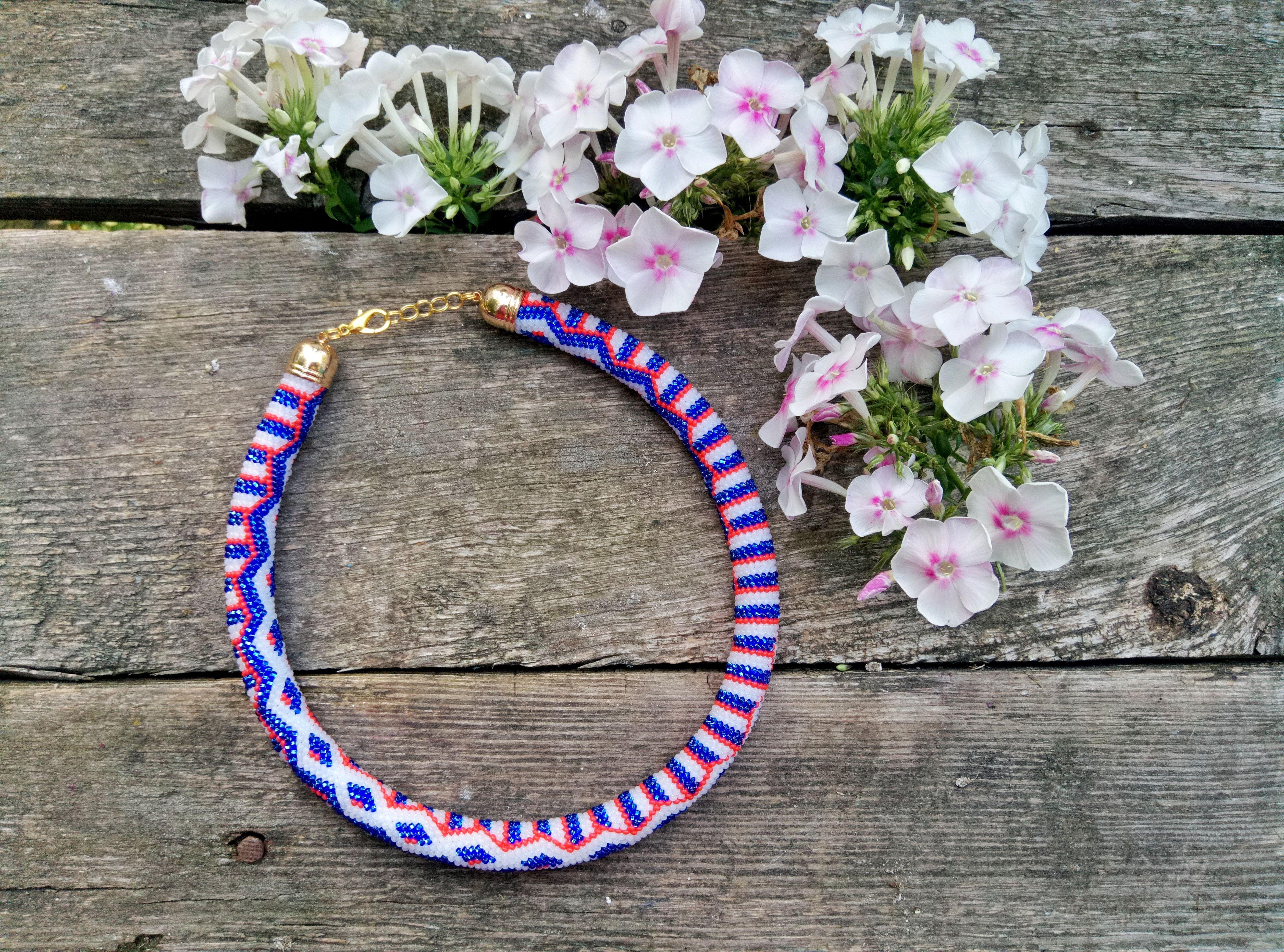 колье бусы бижутерия ожерелье жгут бисер подарок