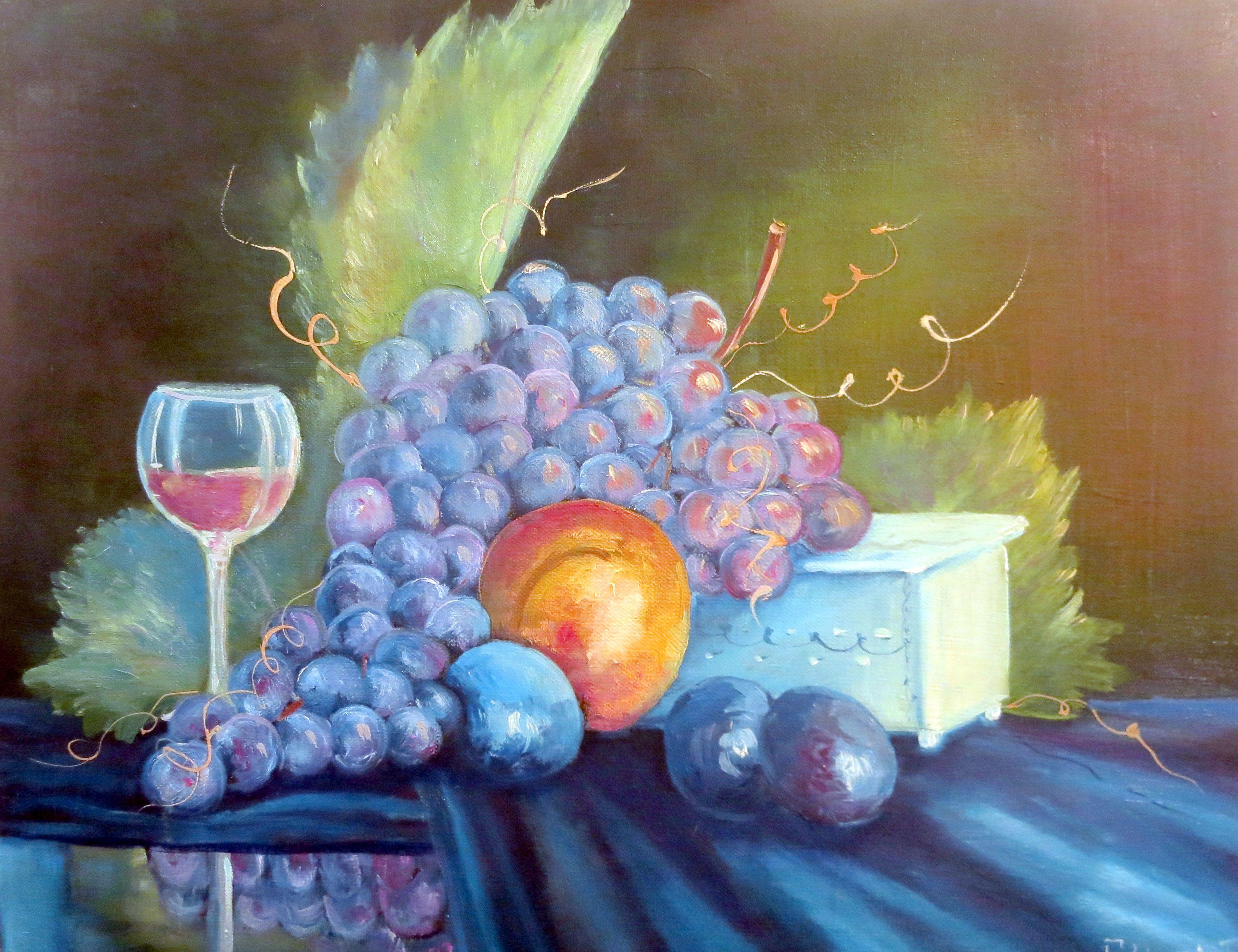 виноград интерьера маслом натюрморт фруктами украшение картина